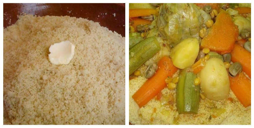 Couscous with butter and vegetables
