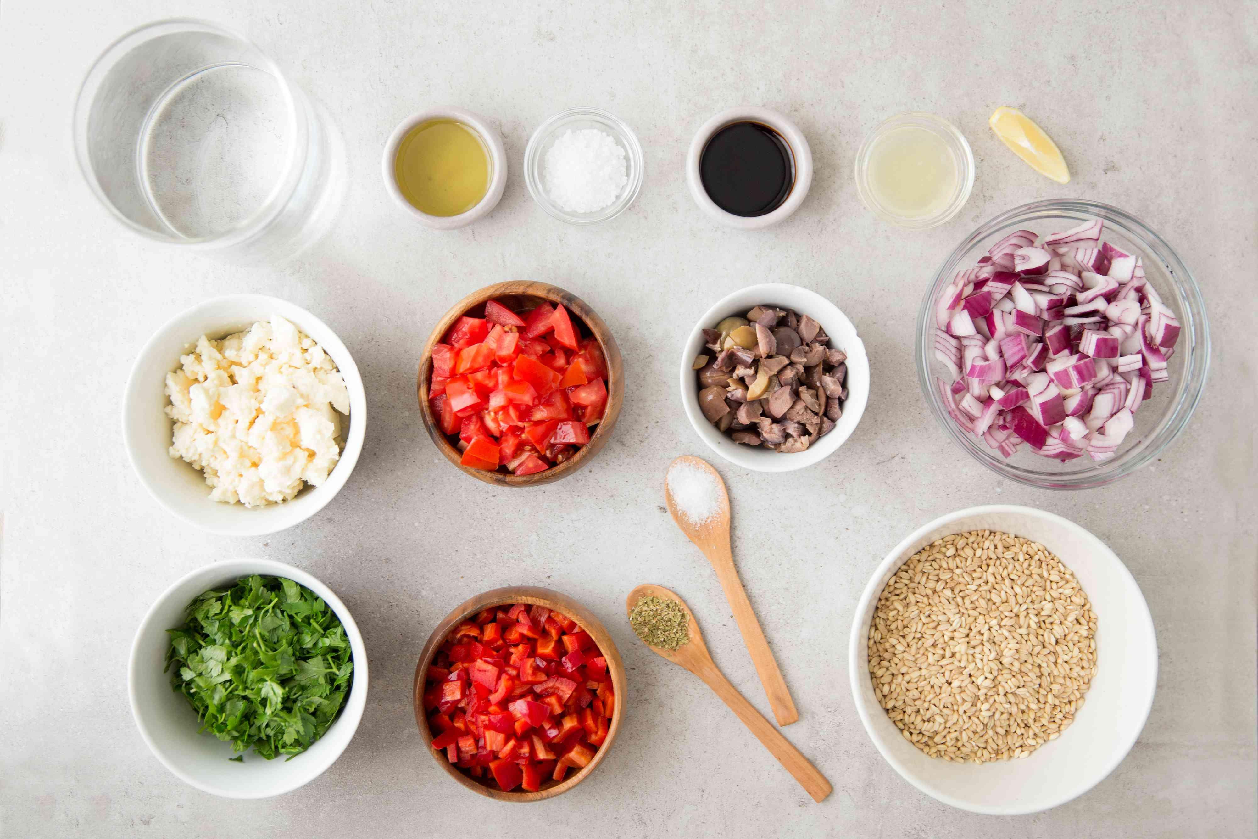 Ingredients for Greek style barley
