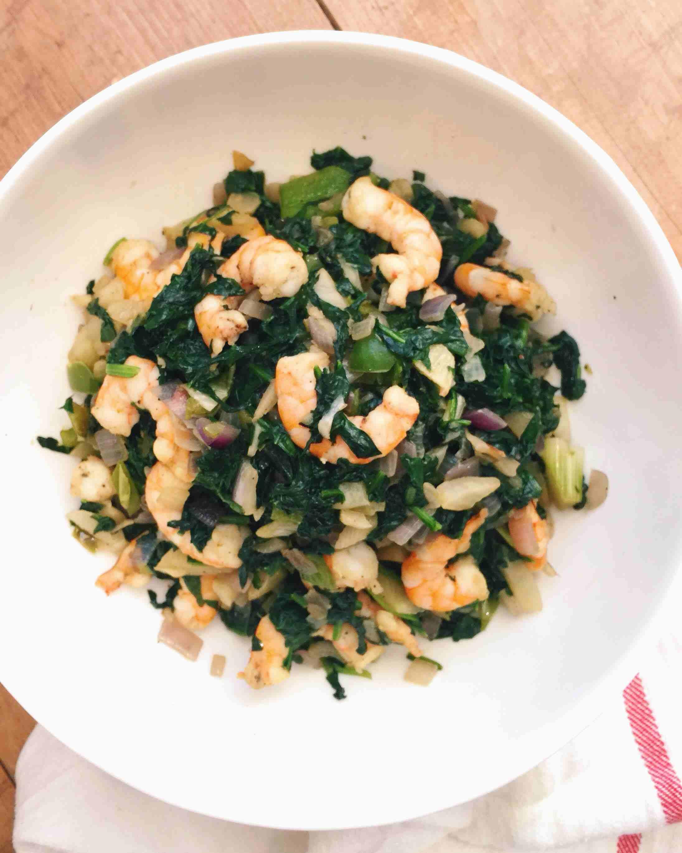 Shrimp and Greens Sauté