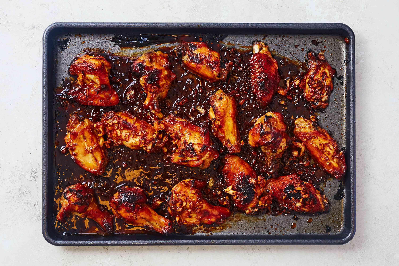 Korean BBQ Chicken Wings (Tong Dak) on a baking dish