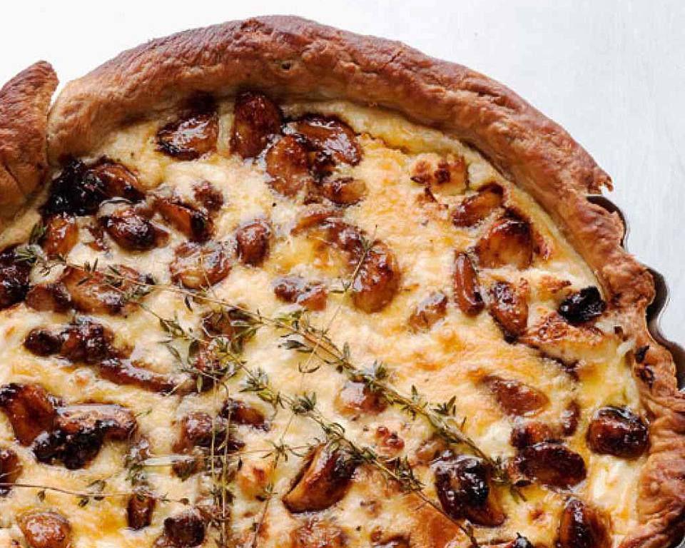 Caramelised Garlic Tart With Goat Cheese