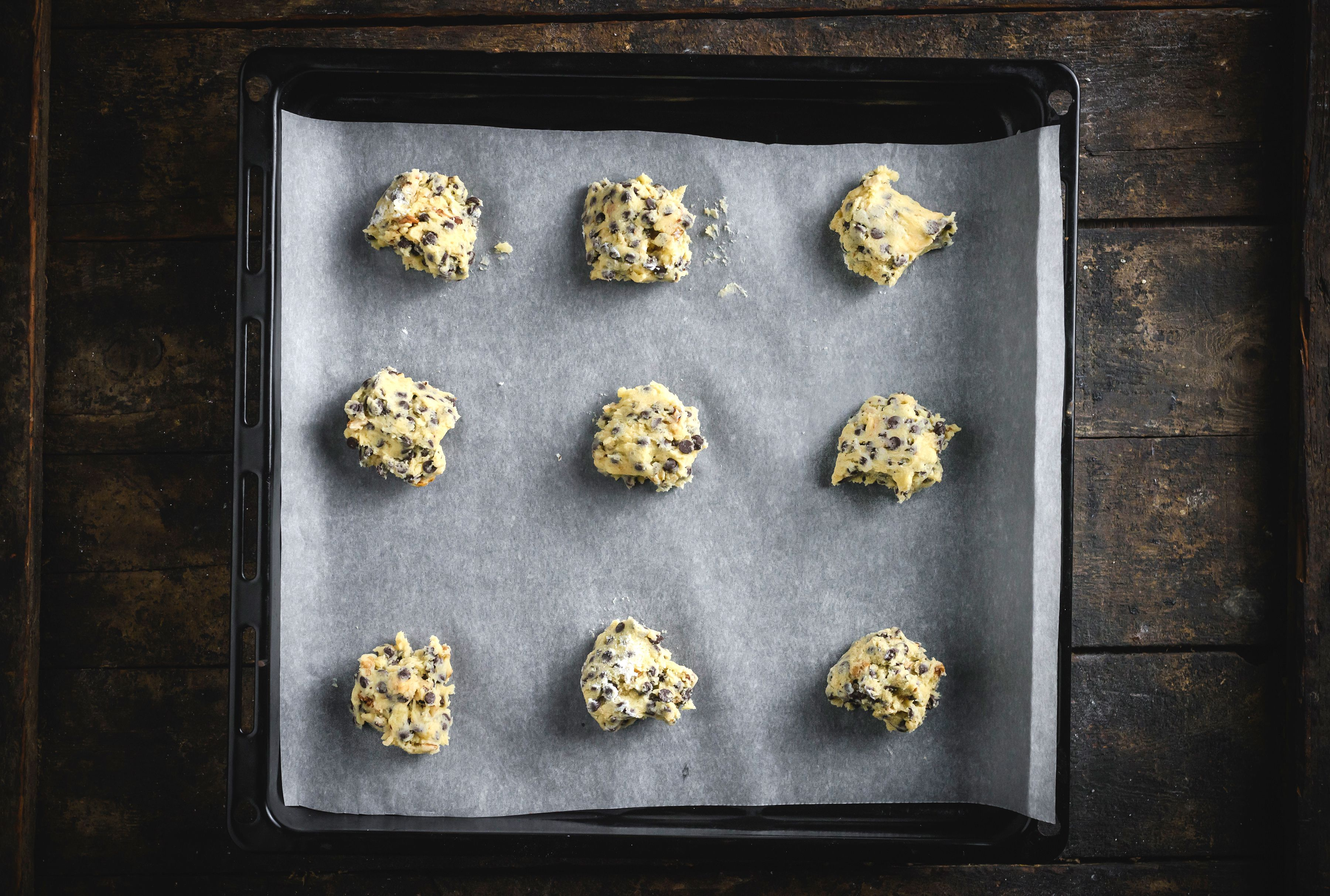 Drop cookies onto tray