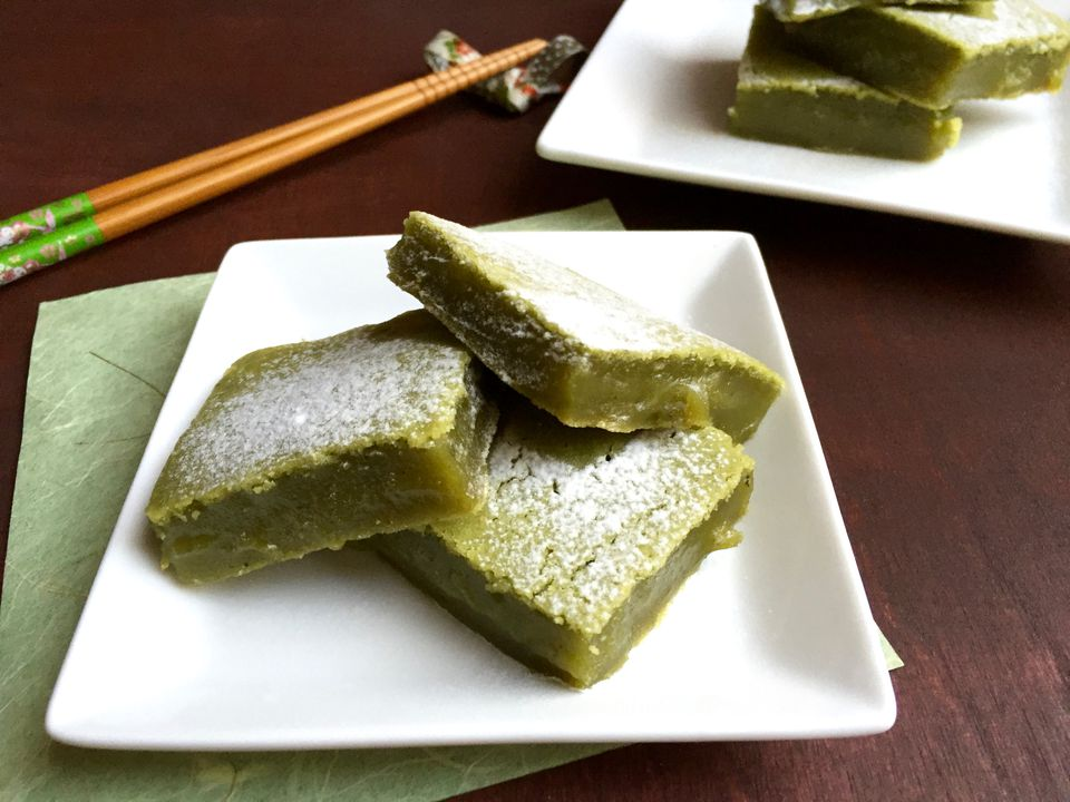 Green tea matcha mochi bars