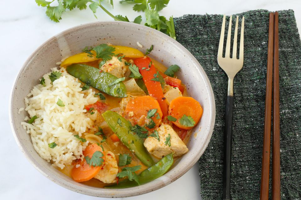 Instant Pot thai chicken curry (red curry) with rice.