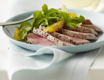 A plate of seared ahi tuna