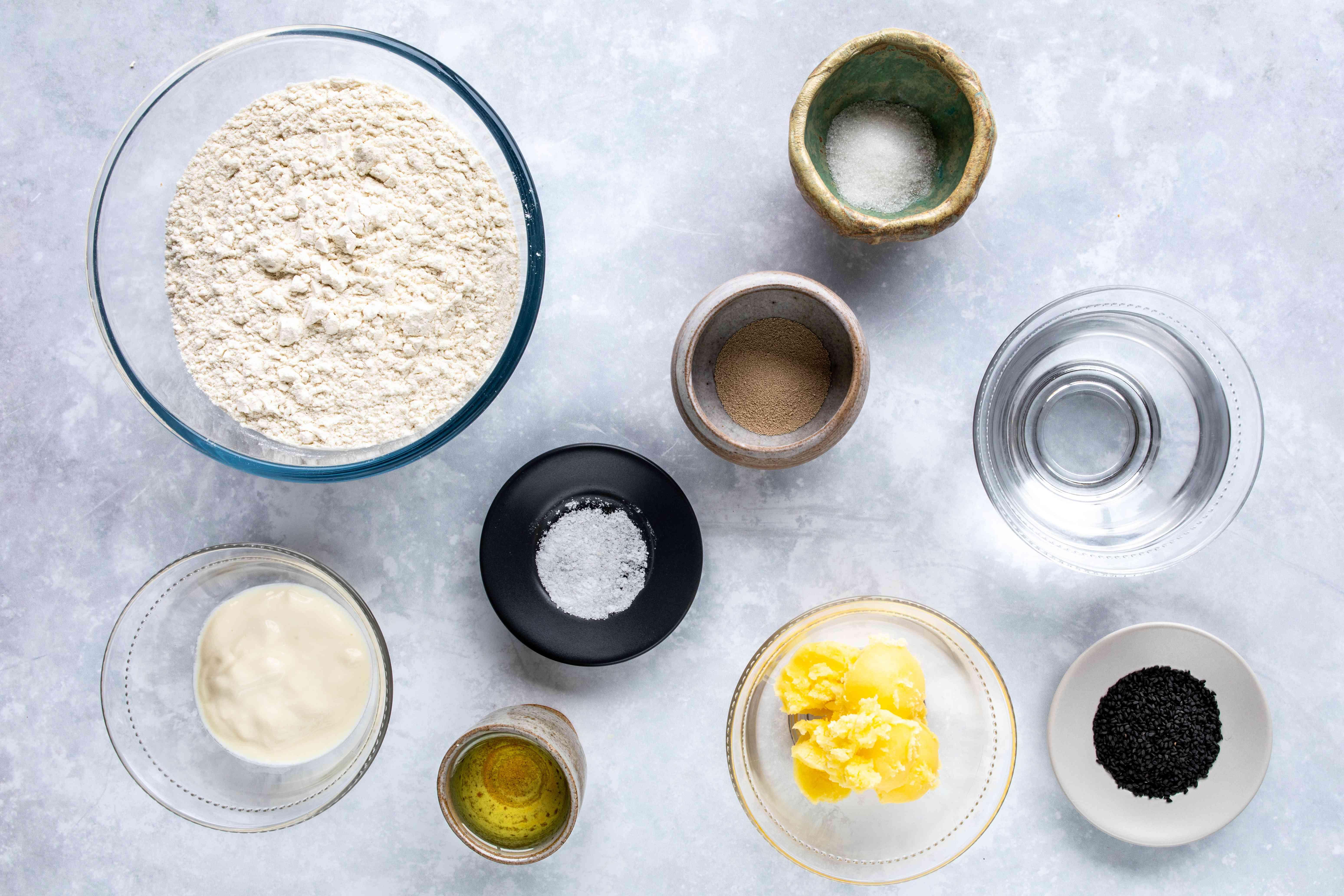 Ingredients for naan leavened Indian flatbread