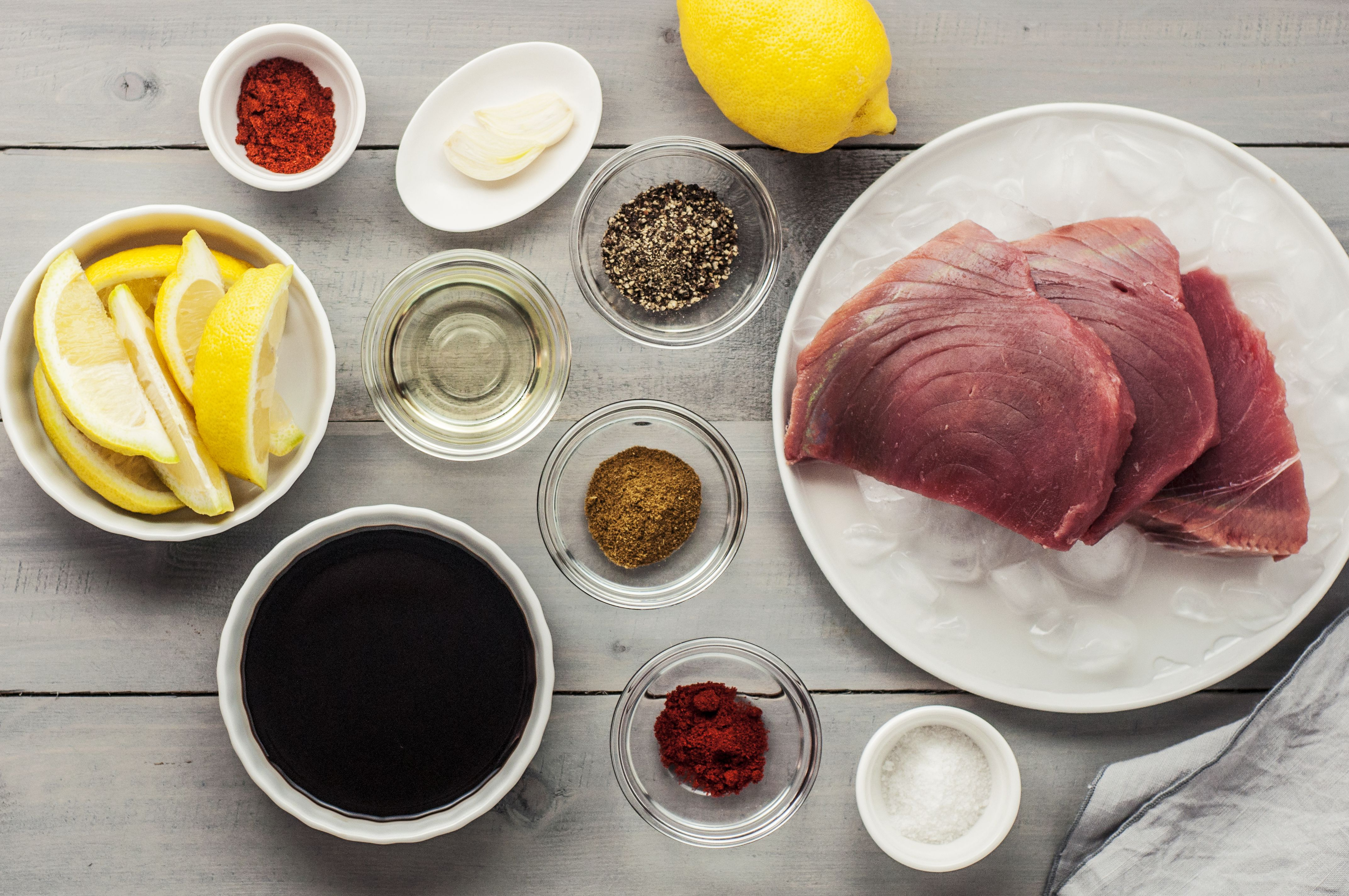 Ingredients for making spice-rubbed seared tuna steaks