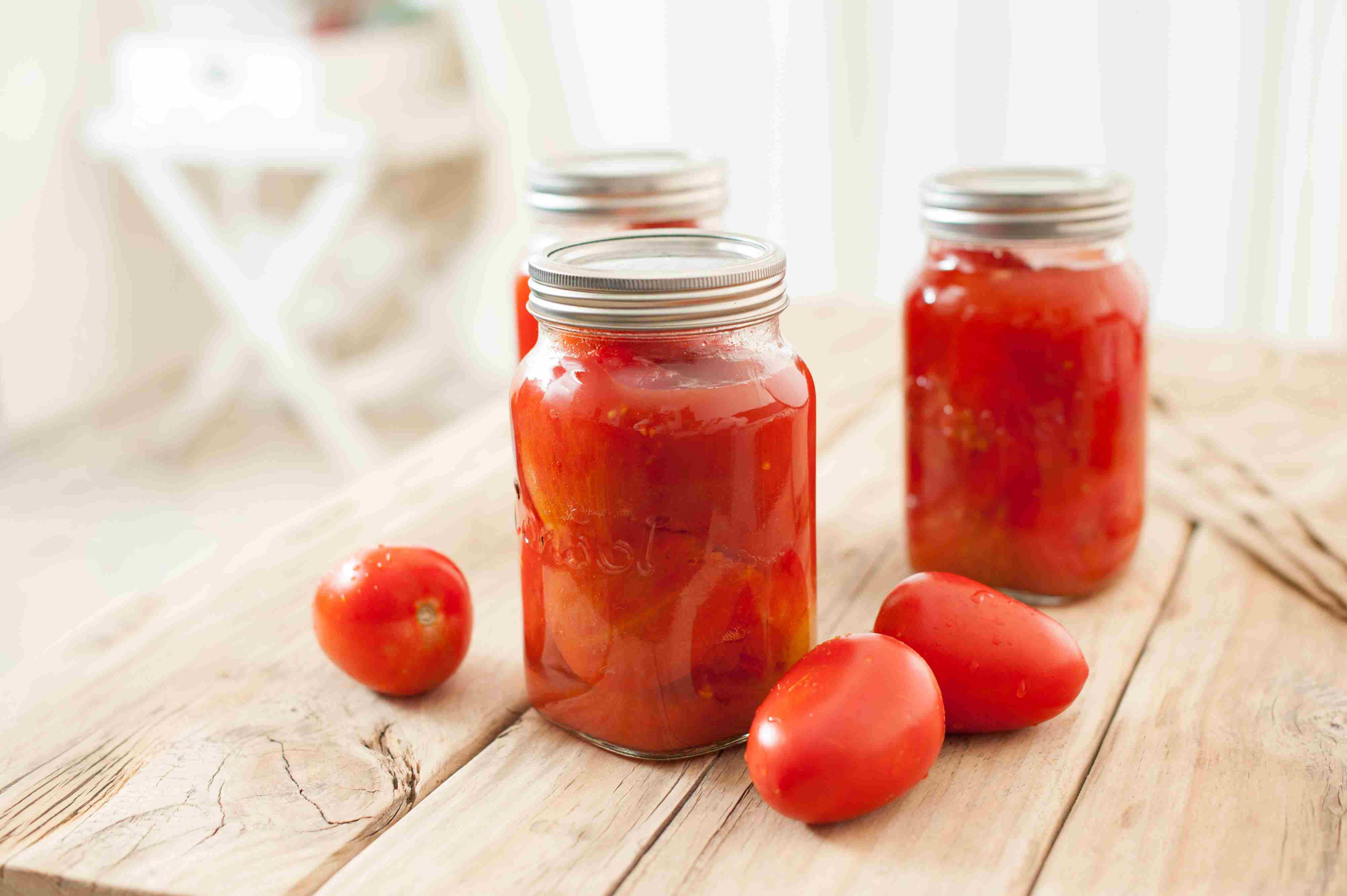 Finished canned tomatoes