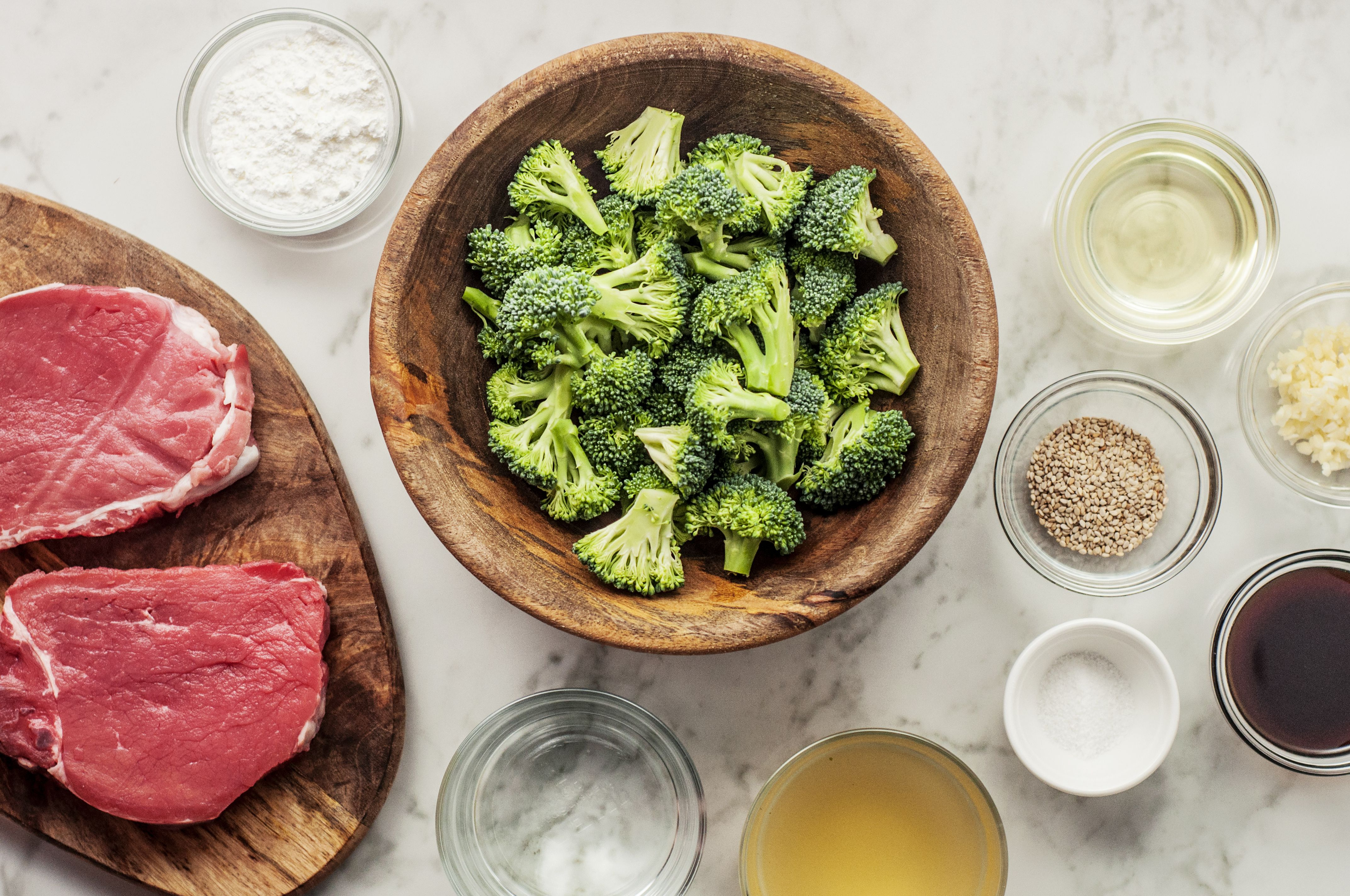 Ingredients for beef and broccoli stir-fry