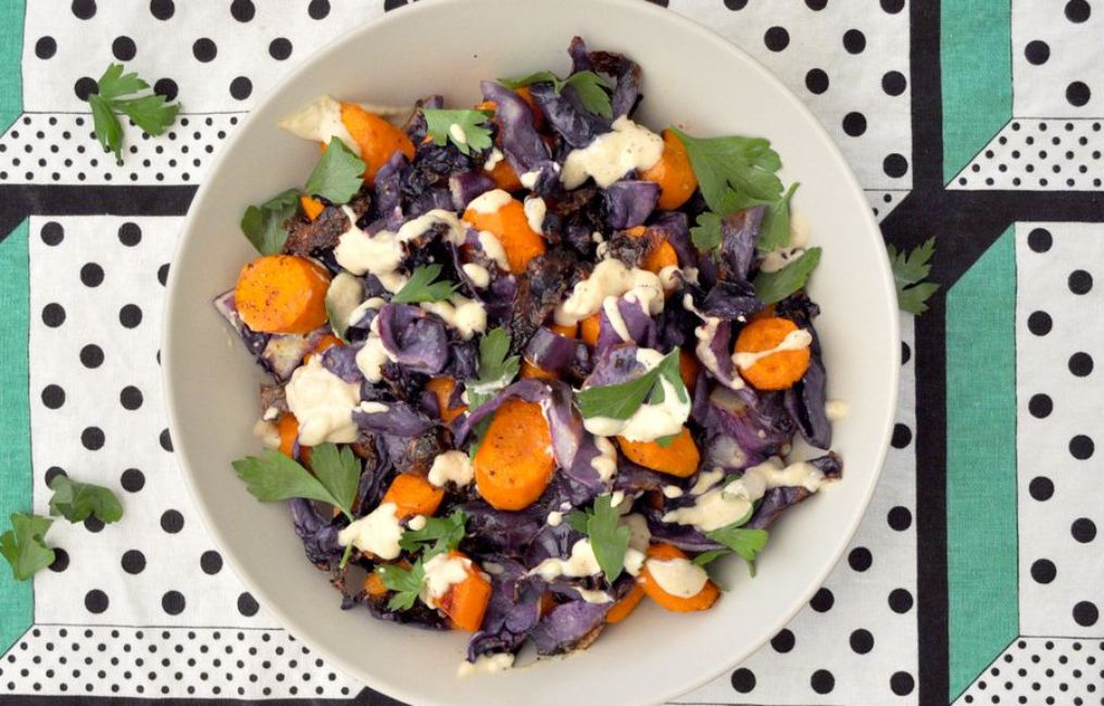 Roasted Carrot and Red Cabbage Salad