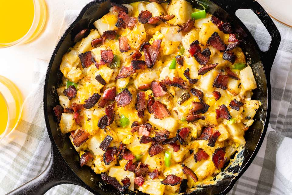 Country breakfast skillet in a cast-iron pan