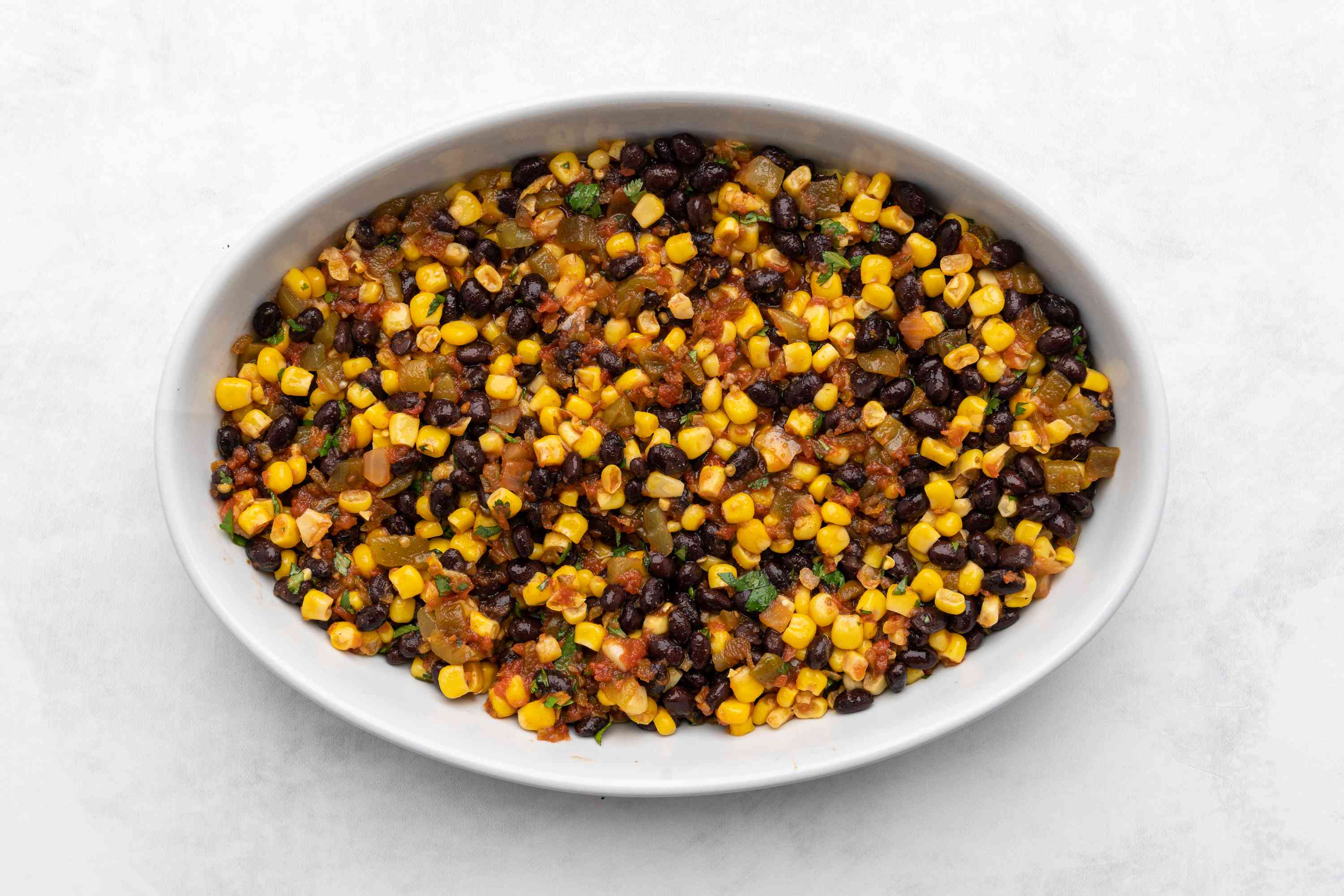 beans, corn and salsa in a casserole dish