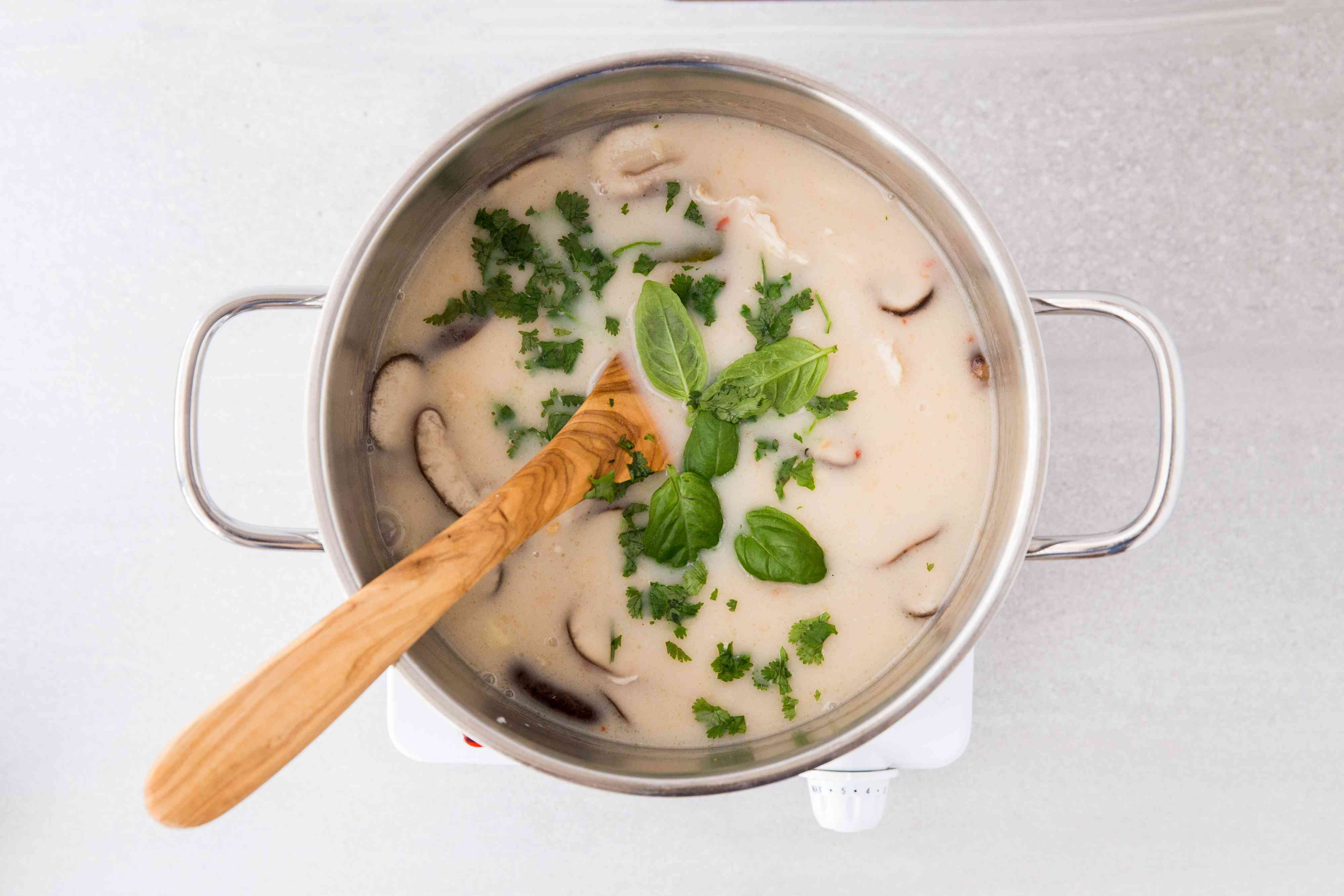 Add the ginger, coconut milk, the fish sauce, and extra vegetables to the soup in the pot