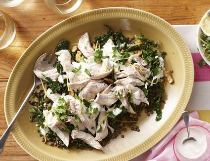 Poached chicken in a lentil salad