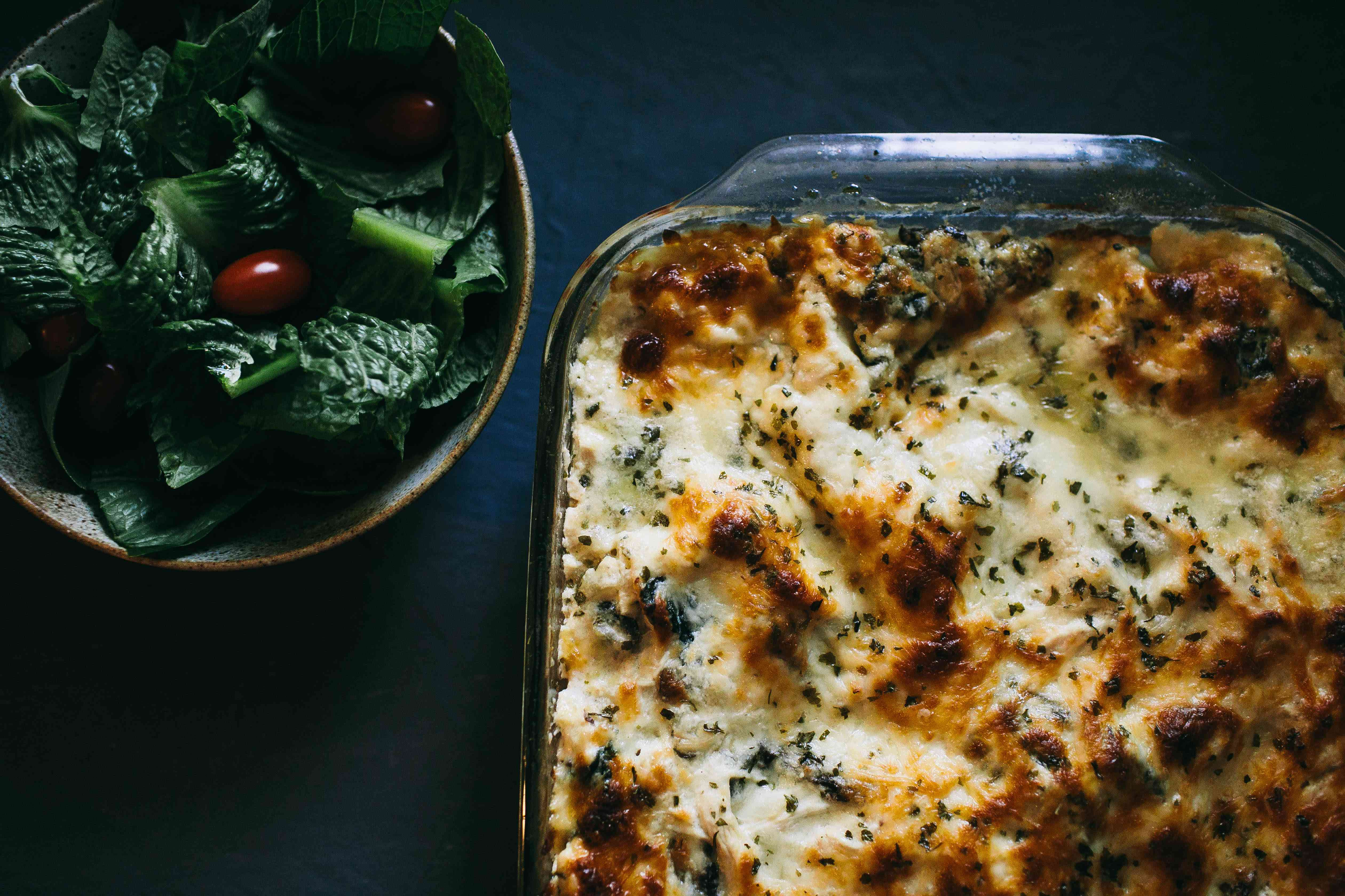 browned and finished chicken alfredo lasagna