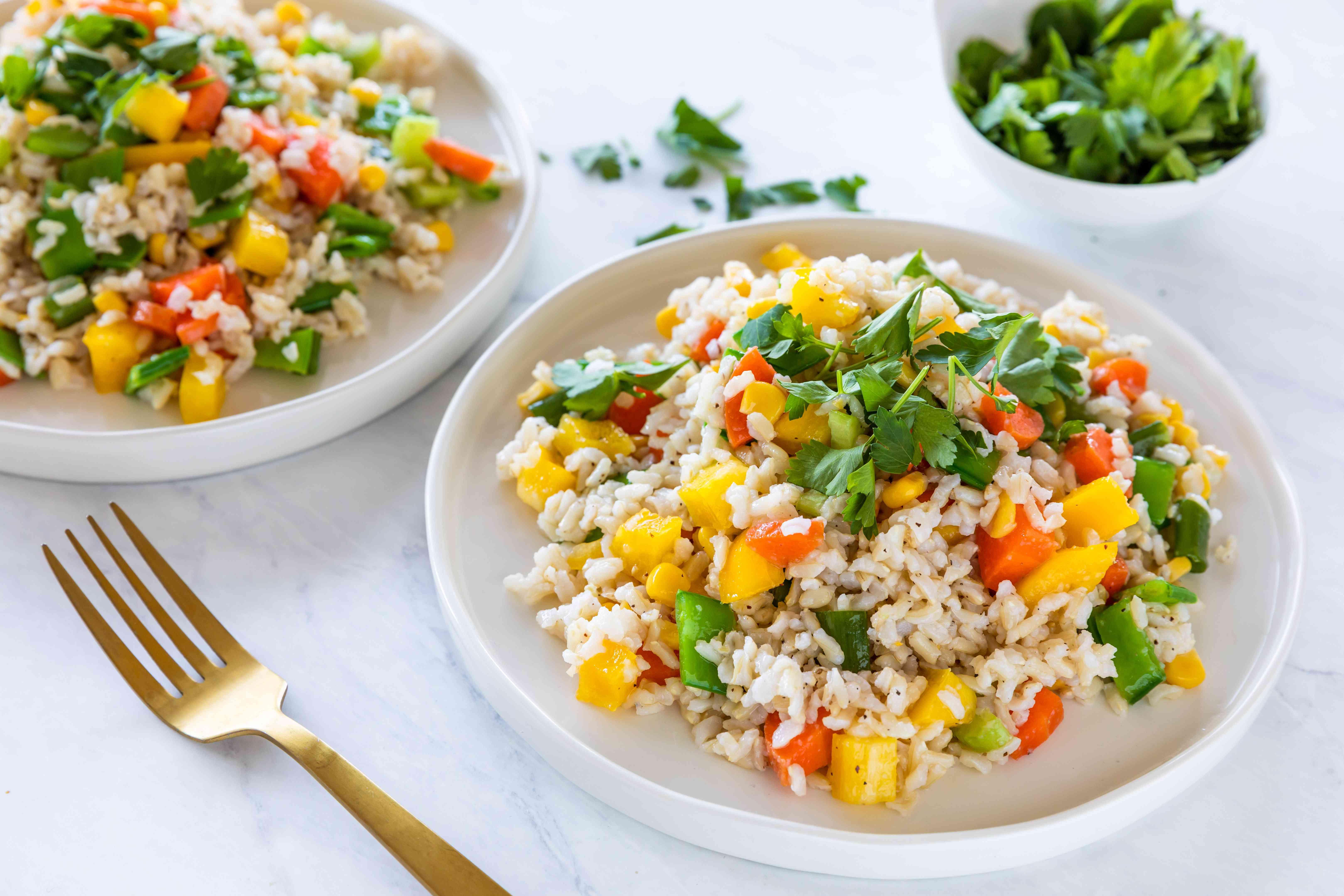 Cold asian rice salad