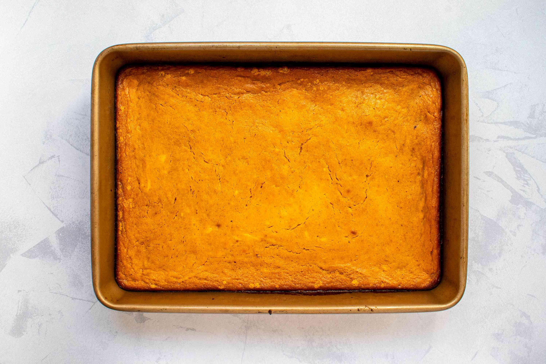 Baked pumpkin cake in a baking pan