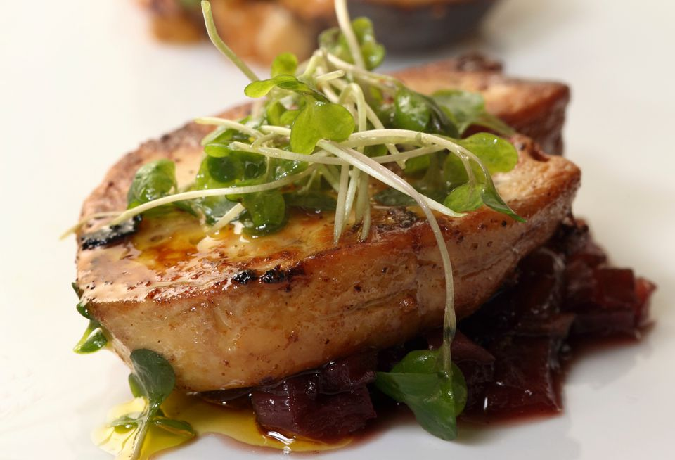 Pan-seared foie gras with red onion relish