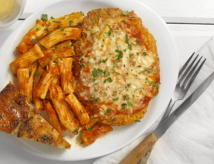 Chicken Parmesan with Rigatoni and Tomato Sauce