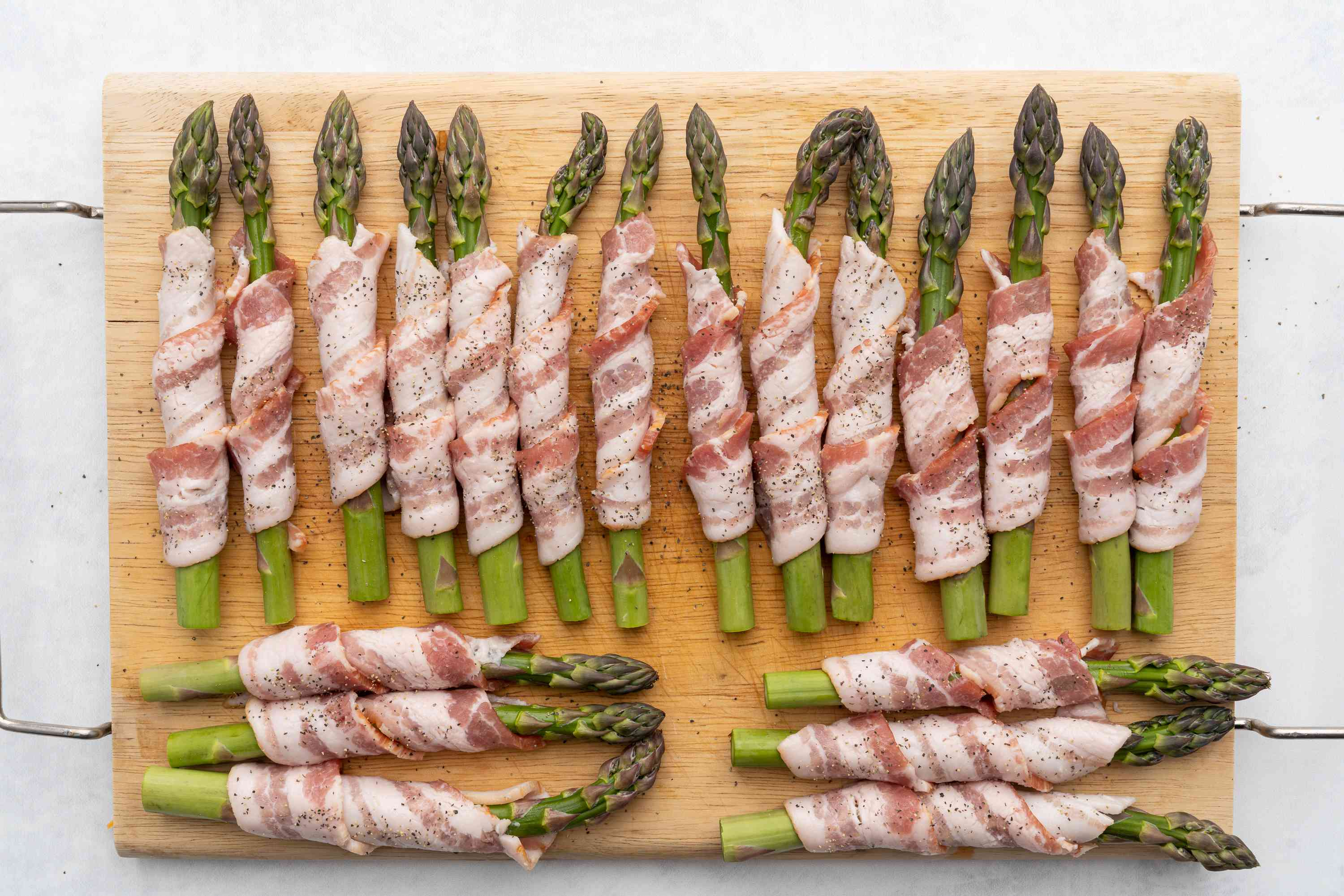 Bacon Wrapped Asparagus seasoned with pepper