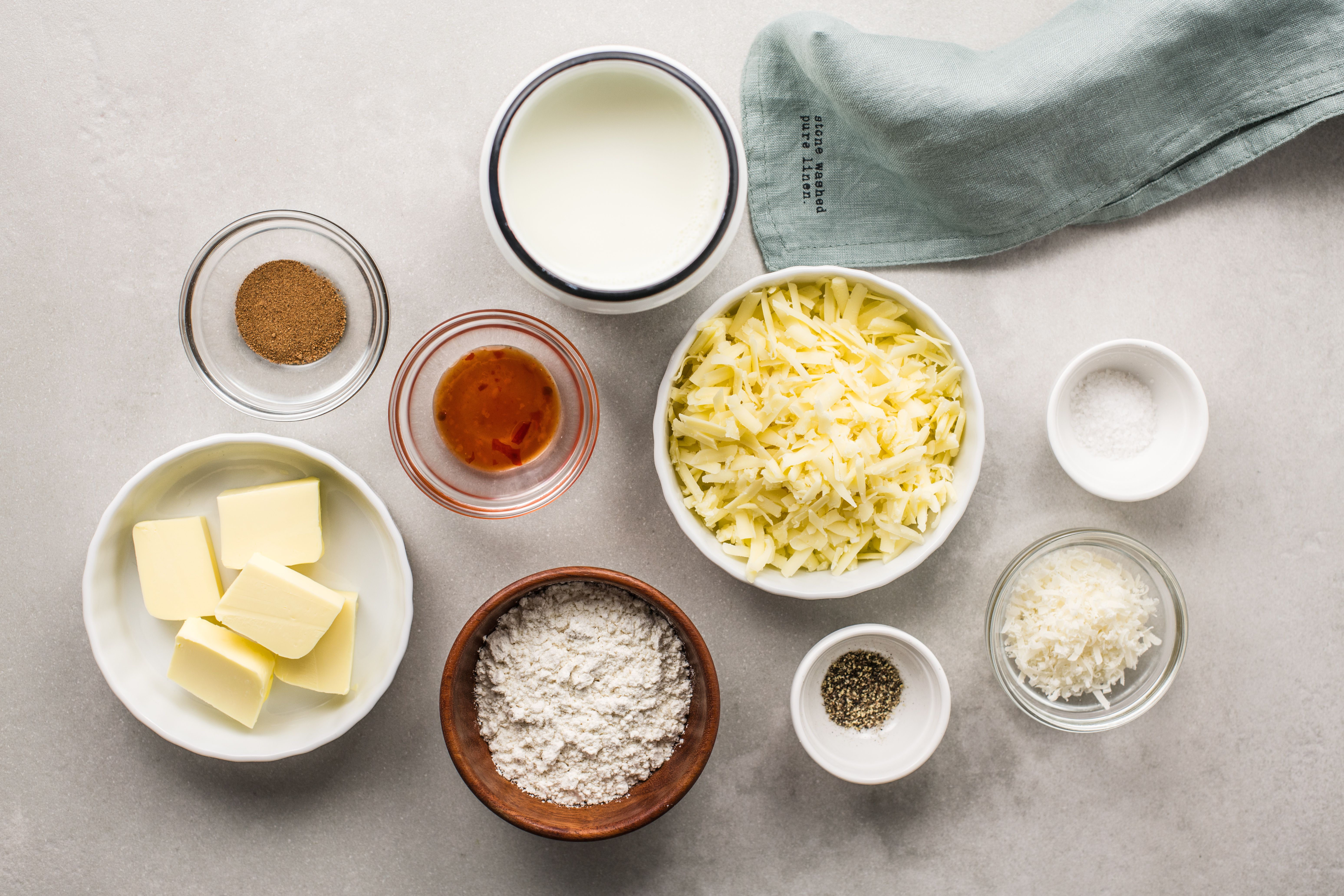 Ingredients for béchamel sauce with cheese