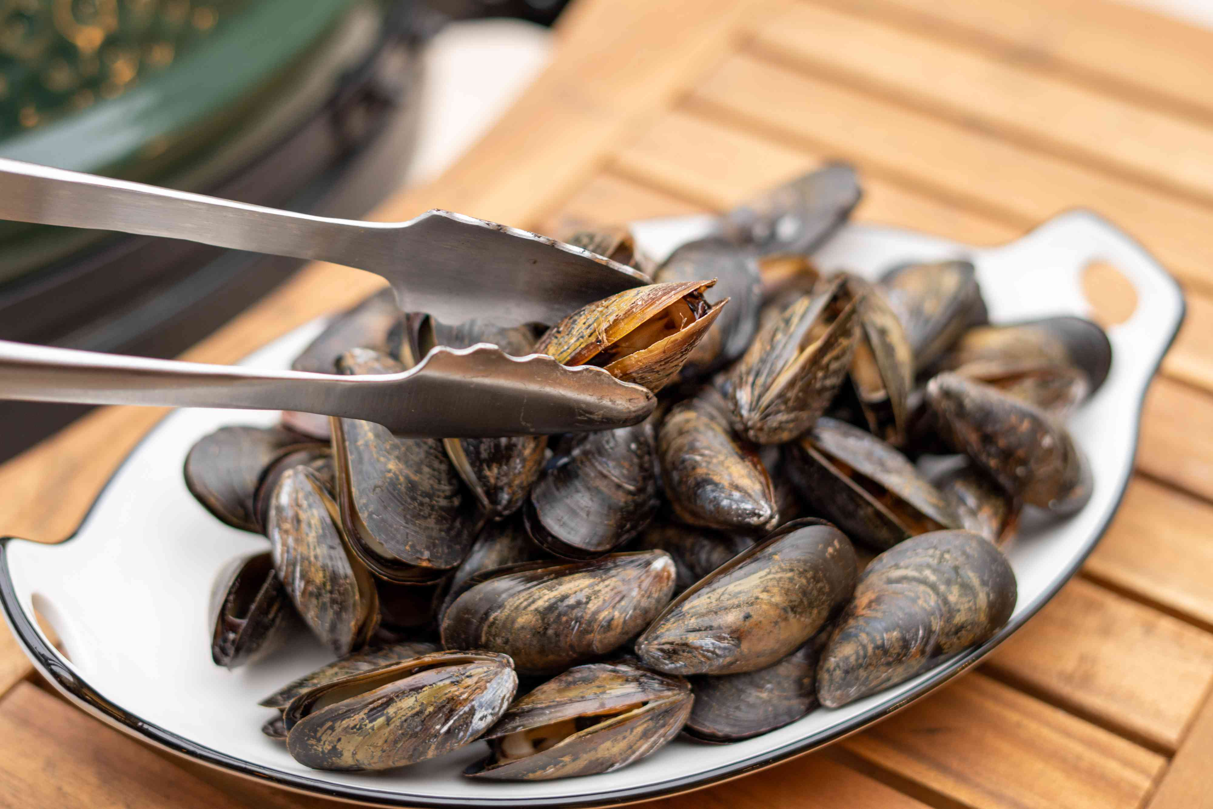 Grilled Mussels on a platter