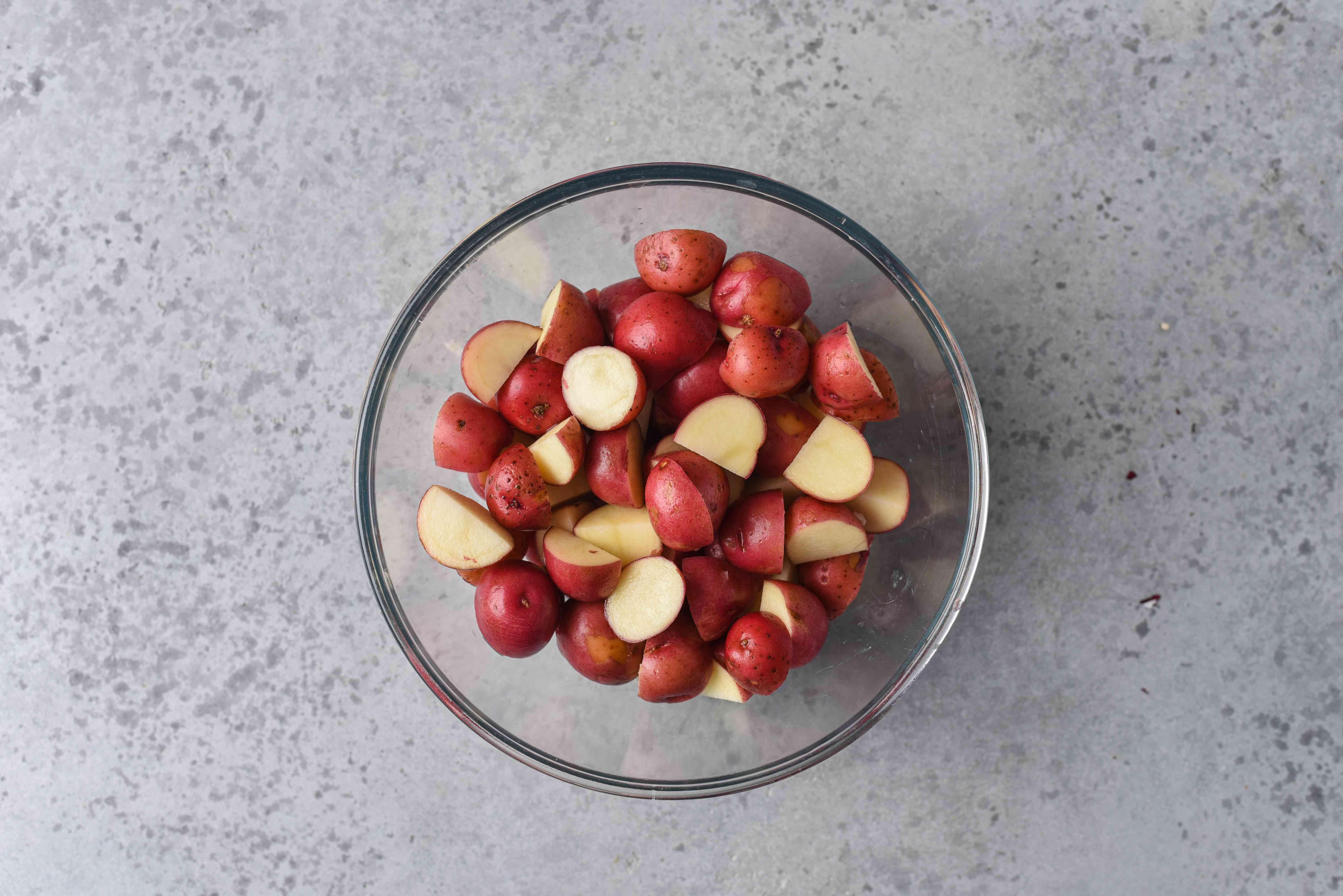 cut potatoes in a bowl