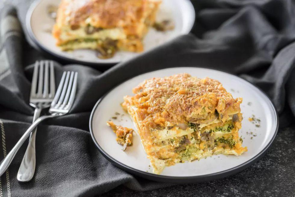 Three-Cheese Butternut and Mushroom Lasagna