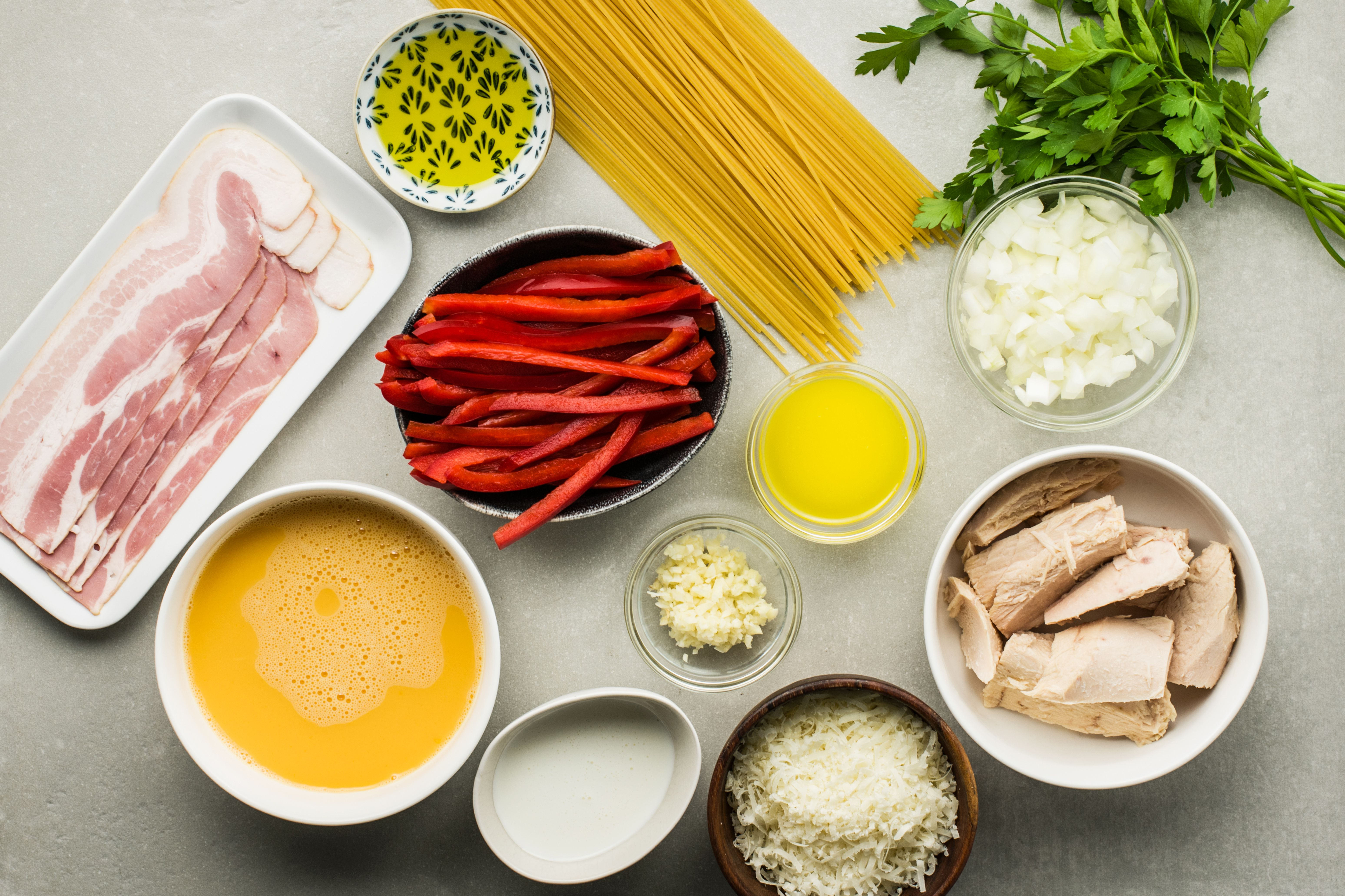 Turkey carbonara ingredients