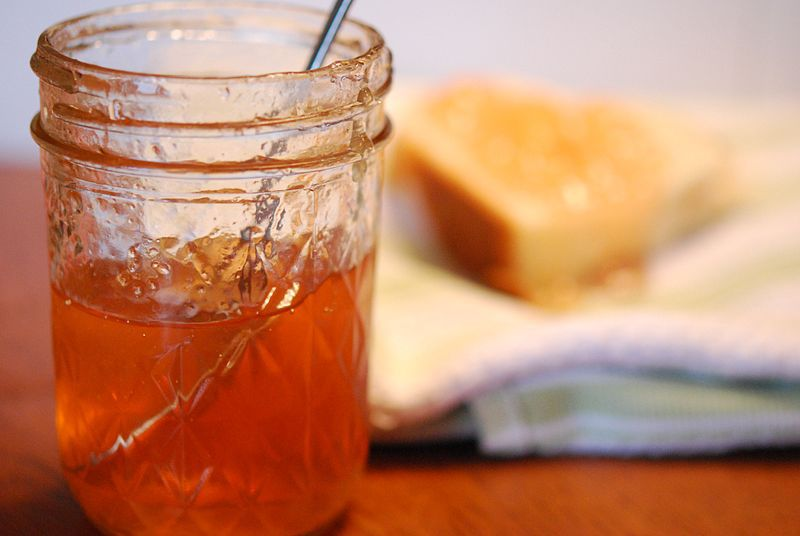 Apple jelly in glass jar