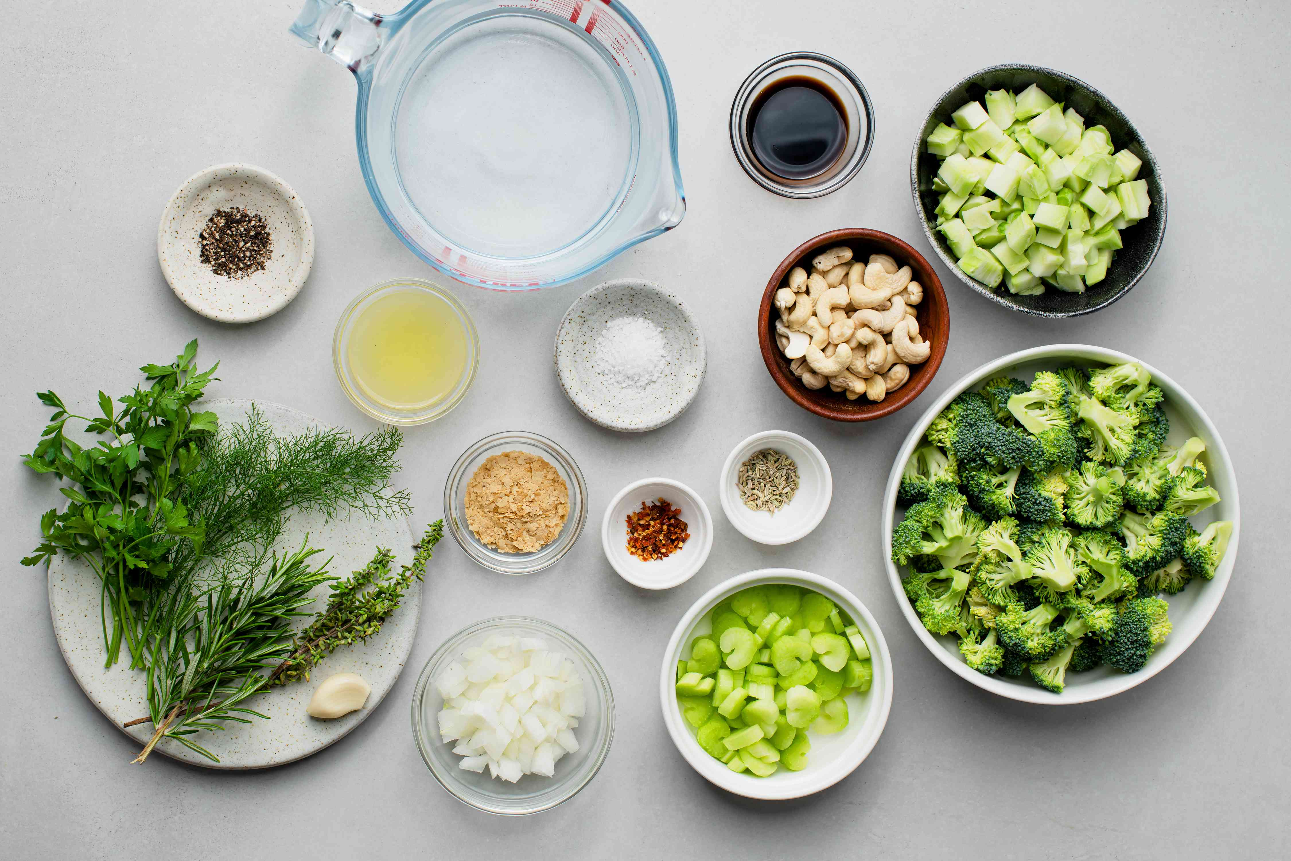 Raw Vegan Cream of Broccoli Soup ingredients