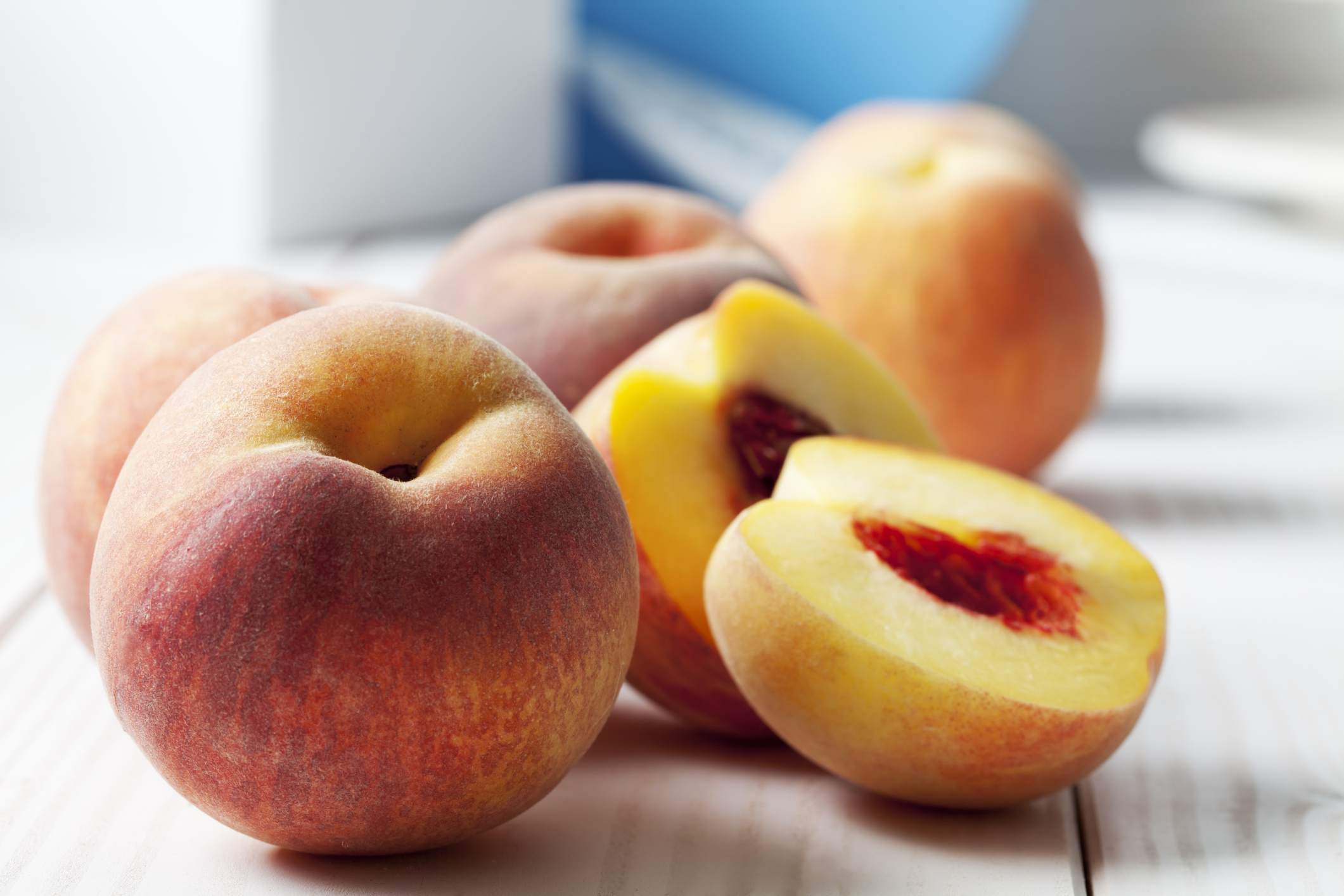 Whole and Halved Peaches
