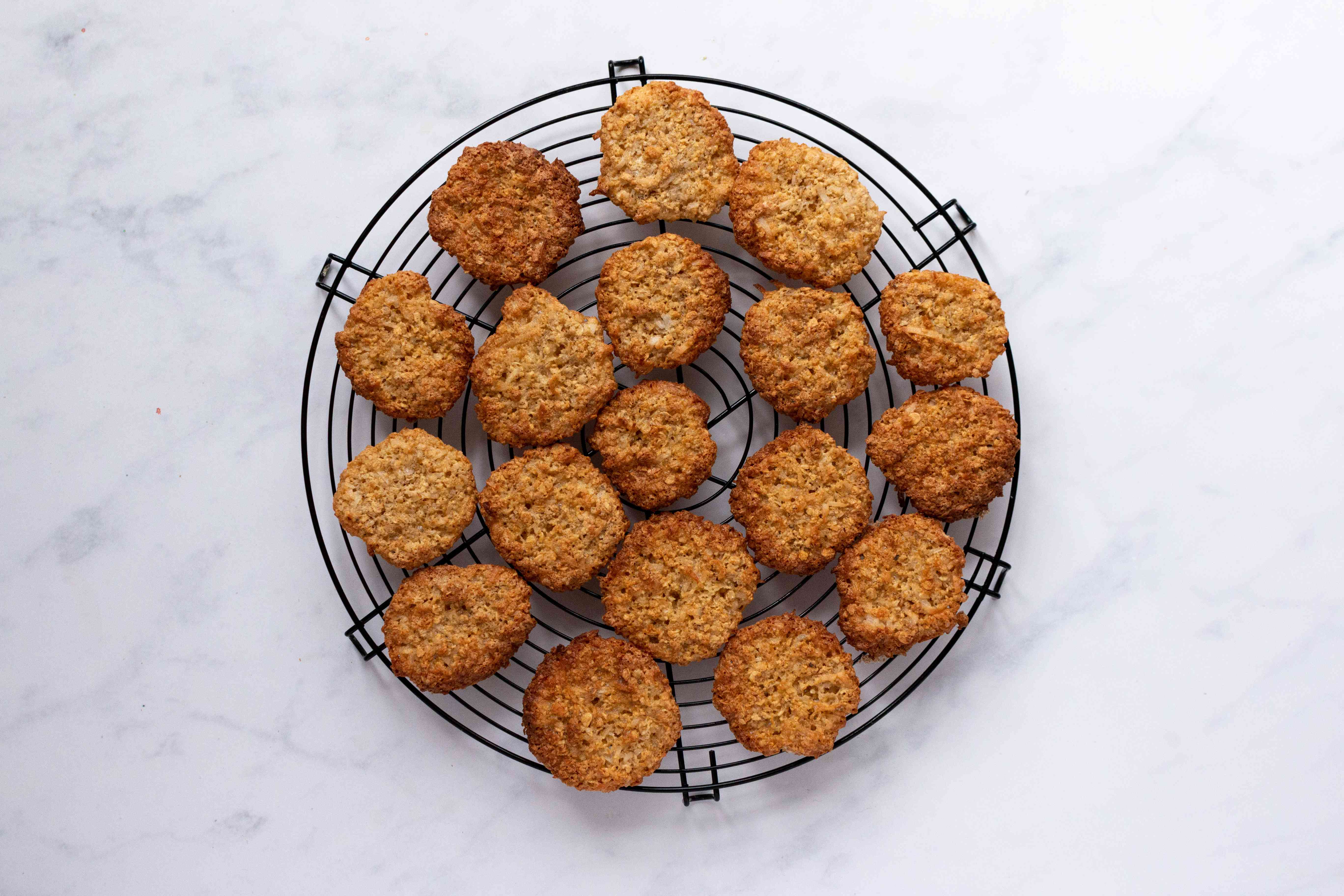 Coconut Cookies on a cooling rack