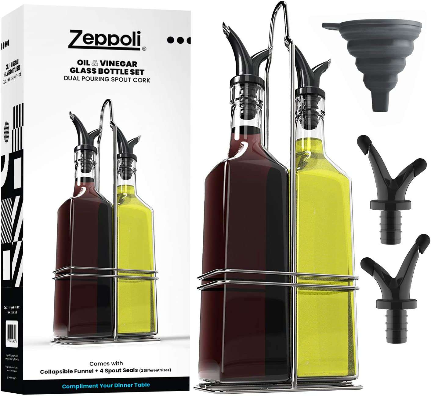 Zeppoli Oil and Vinegar Bottle Set with Stainless Steel Rack and Removable Cork