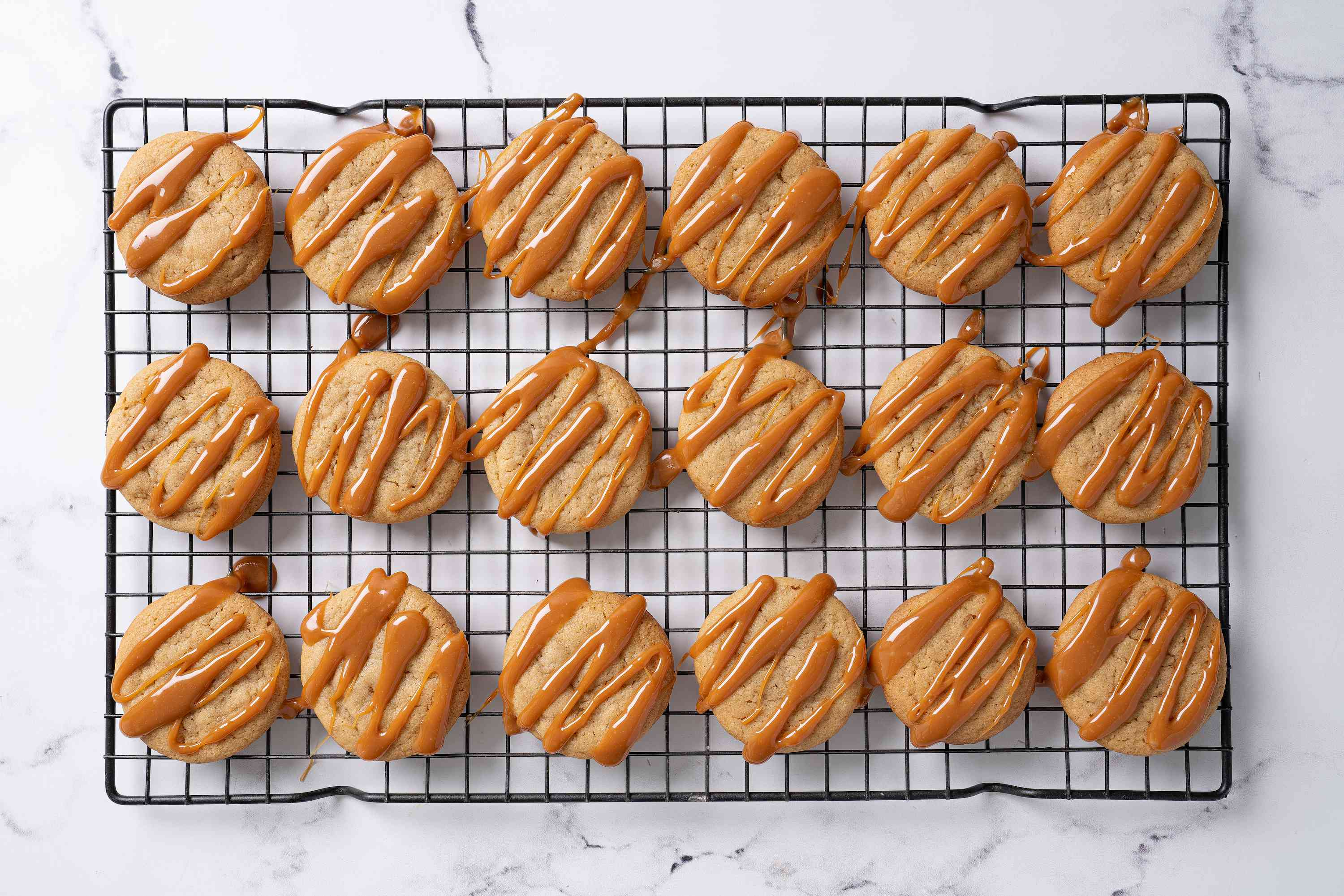 Salted caramel cookies drizzled with caramel