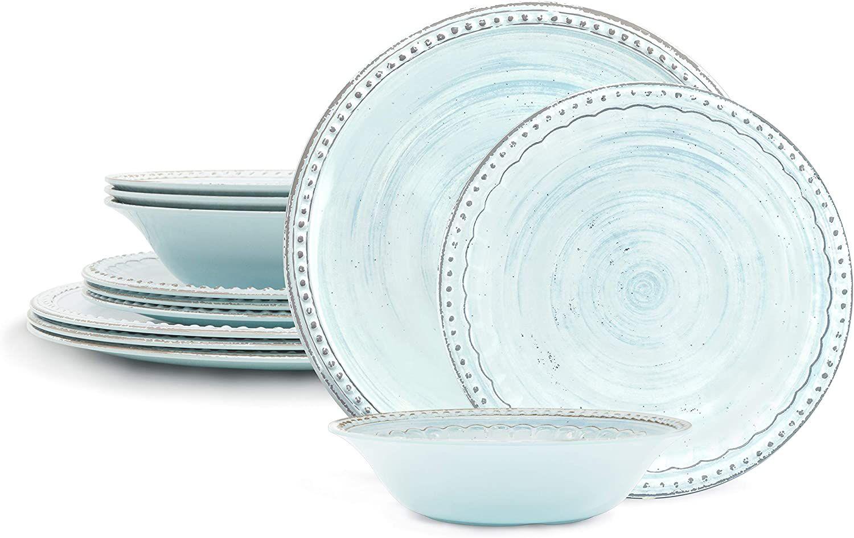 Zak Designs French Country House Melamine 12-Piece Dinnerware Set