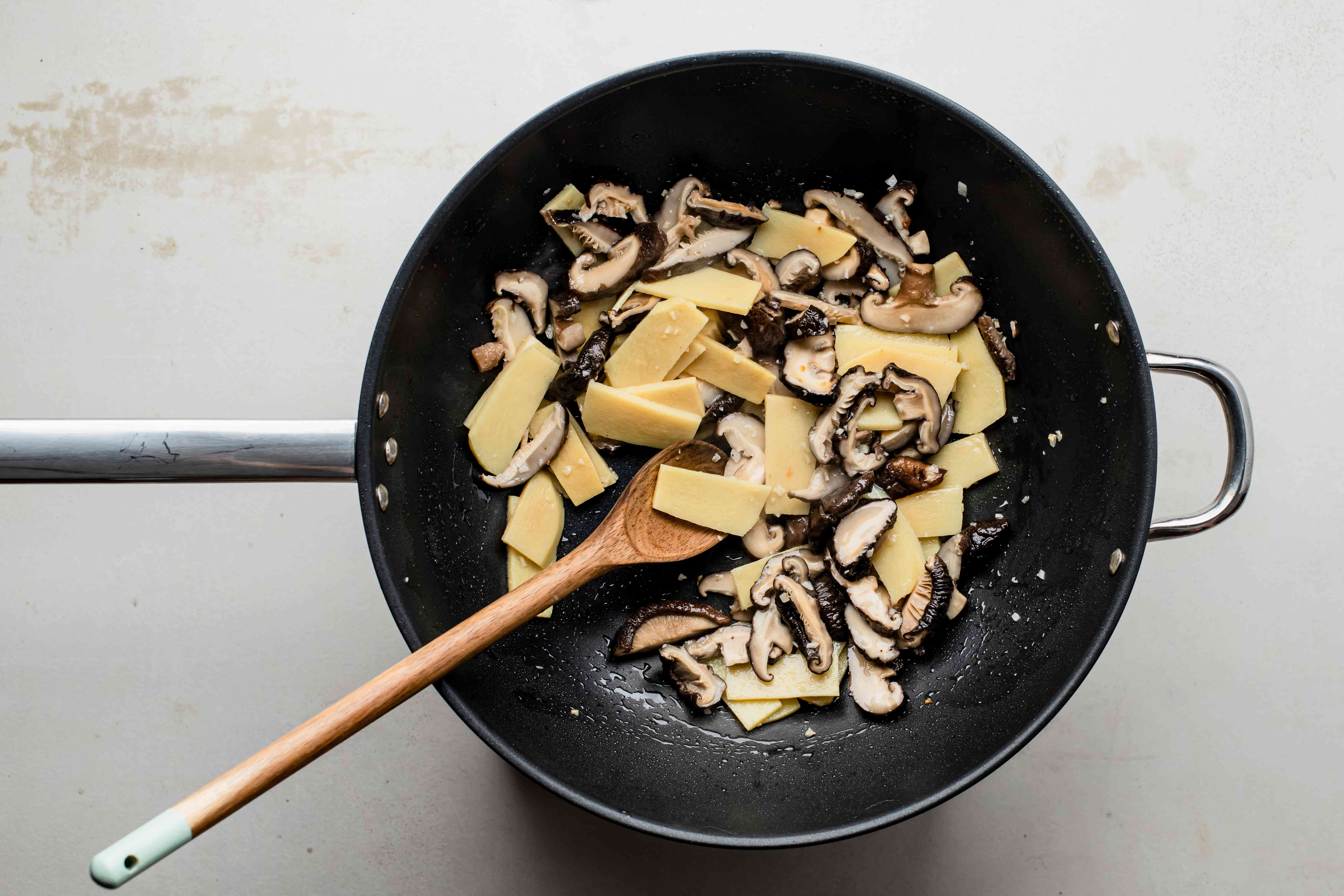 Add bamboo and mushrooms