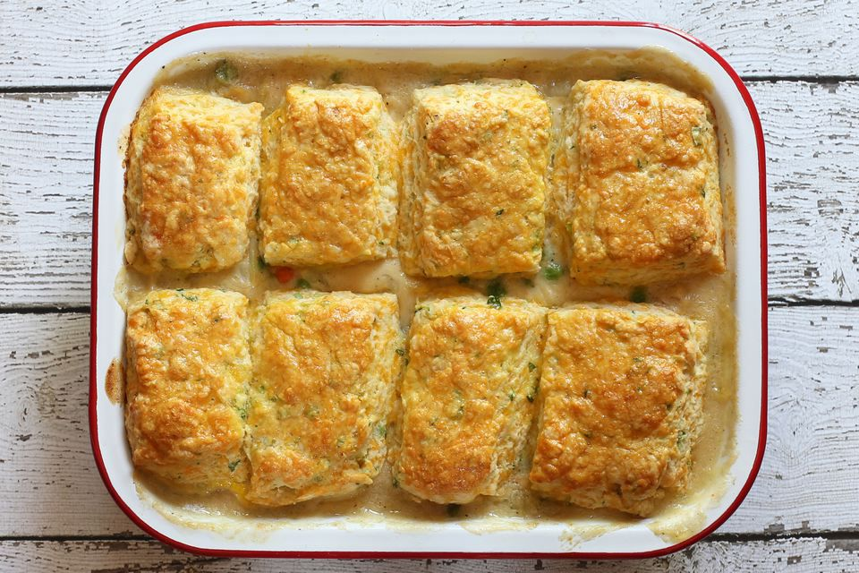 Chicken Pot Pie With Cheese Biscuit Topping
