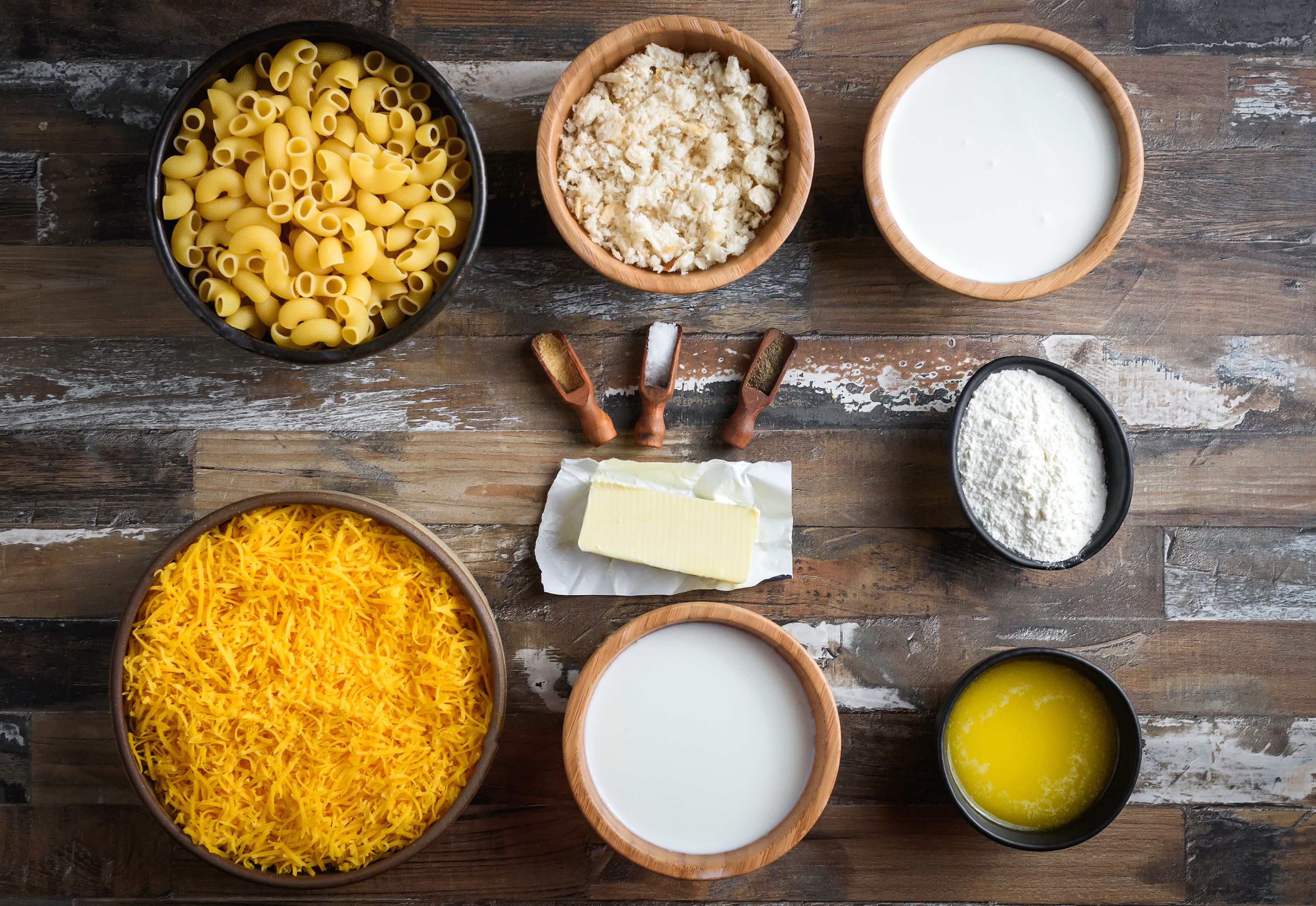 Ingredients for baked mac and cheese