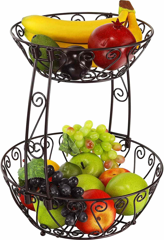 Simple Houseware 2-Tier Countertop Fruit Basket Bowl Storage