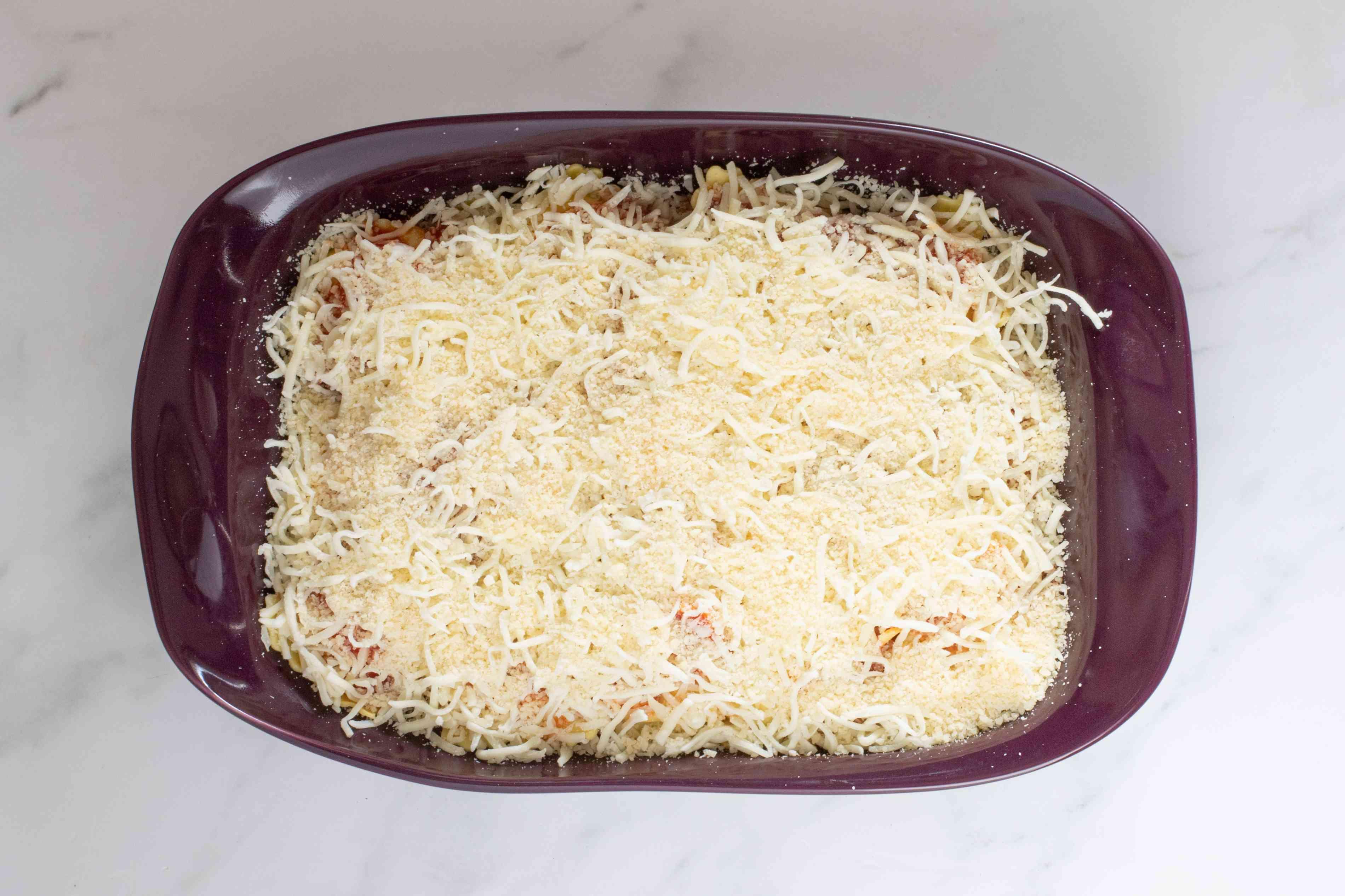 cheese topping on ravioli bake