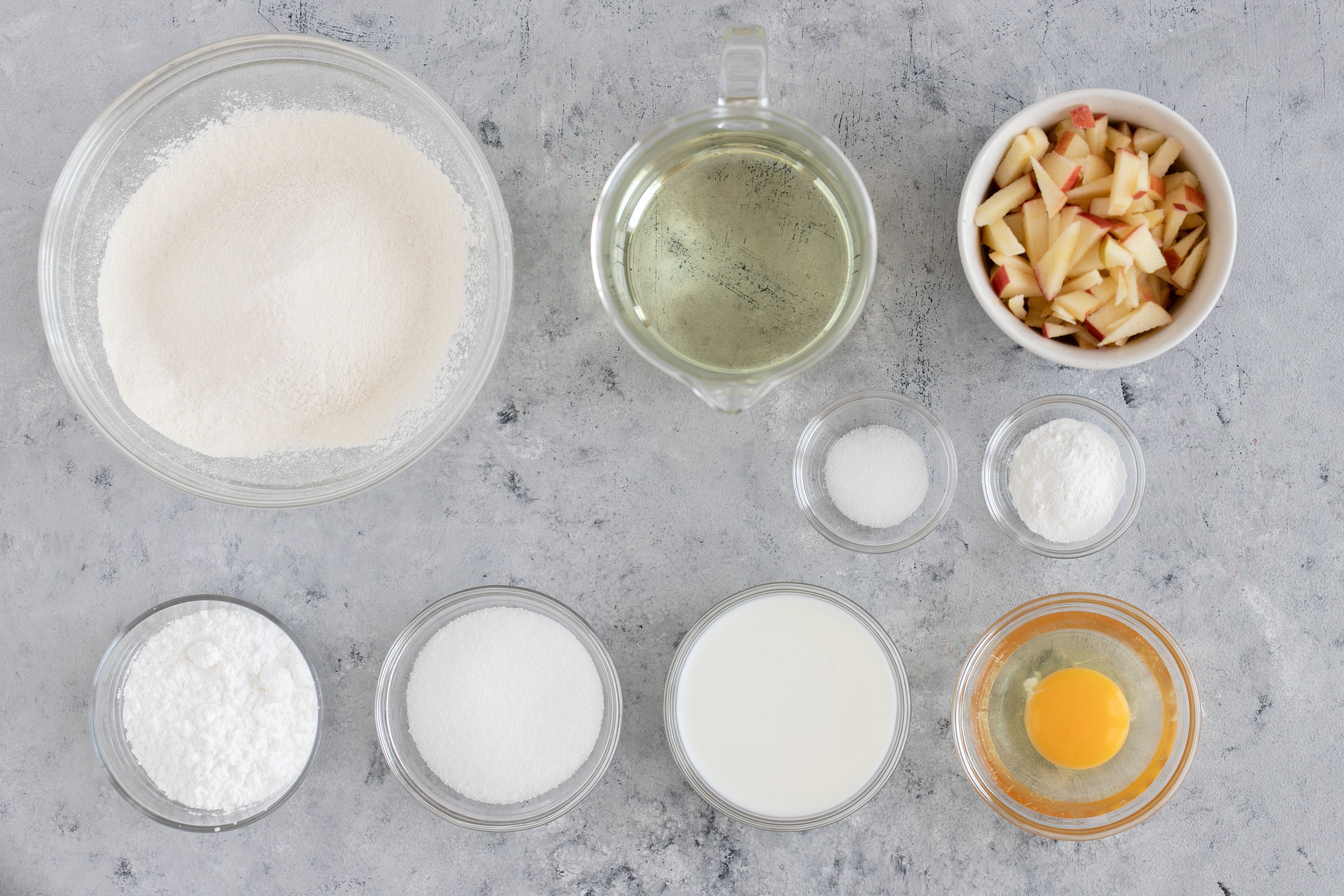 Ingredients for deep fried apple fritters
