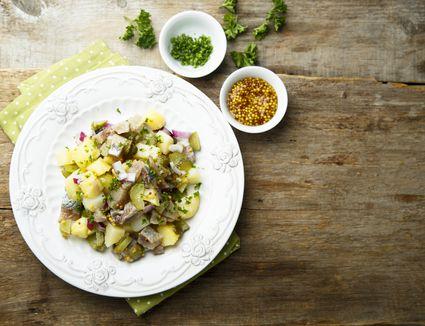 Potato salad with herring