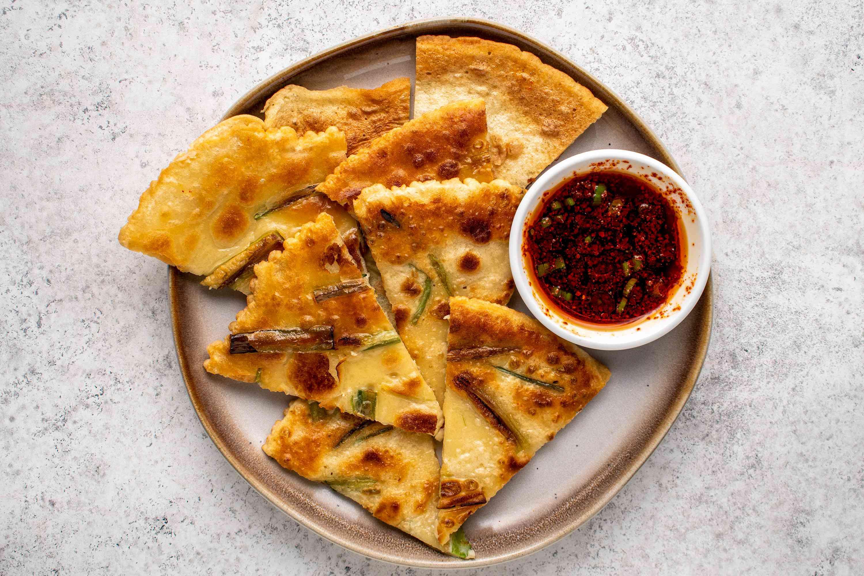 Pa jun (Korean pancakes with scallions) cut into pieces