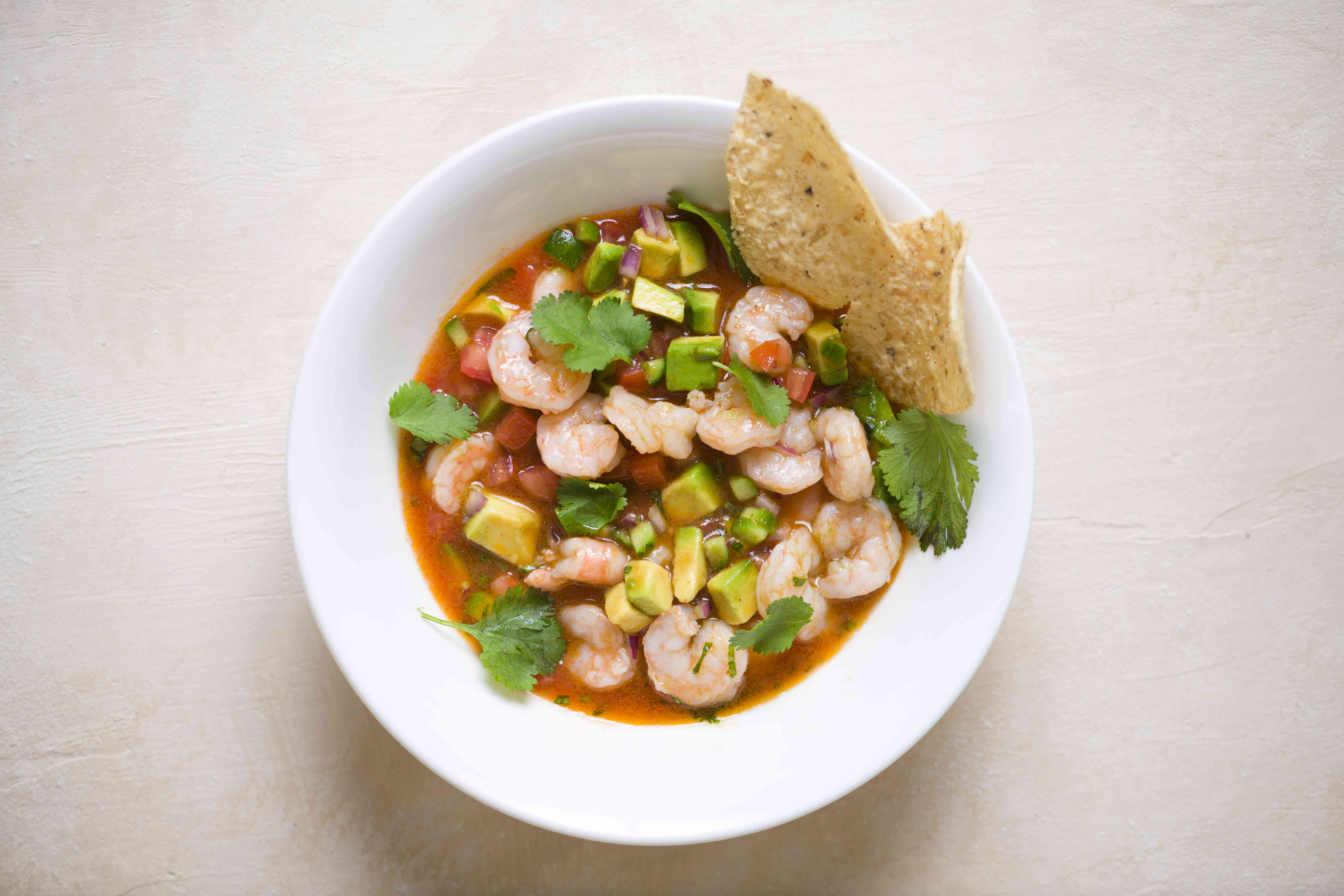 Mexican Ceviche-Style Shrimp Cocktail in a bowl