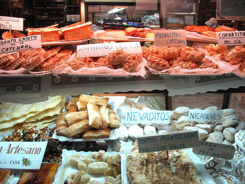 An array of cakes and sweets of Burgos