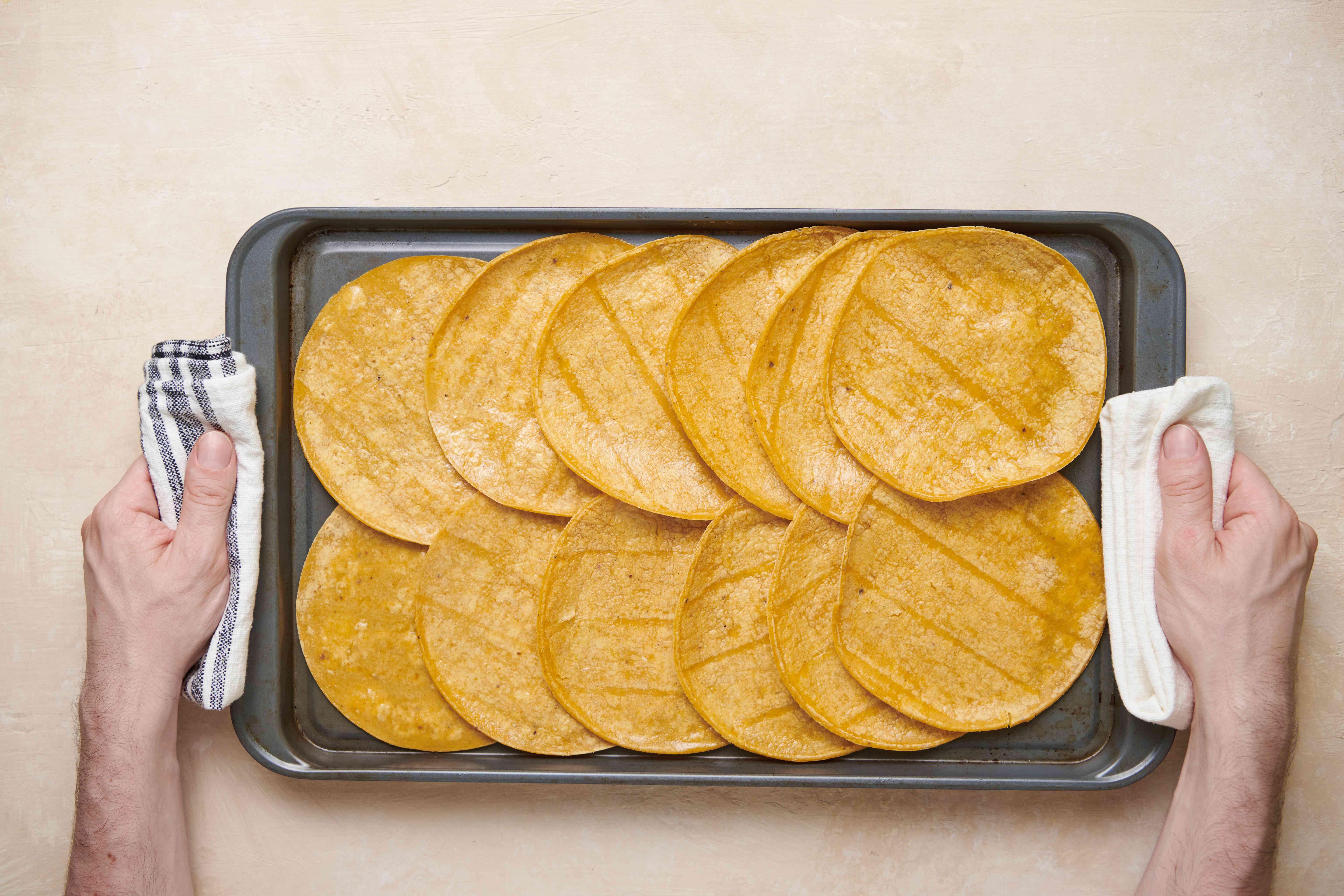 Tortillas on a baking sheet