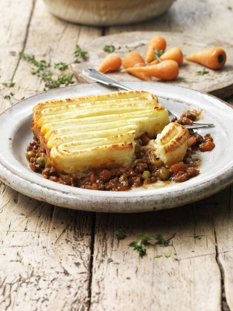 Vegan shepard's pie made with texturized vegetable protein (TVP)