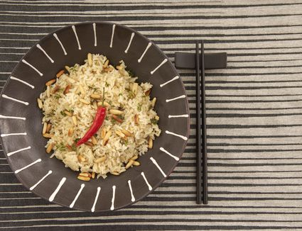 Basmati rice and pine nuts