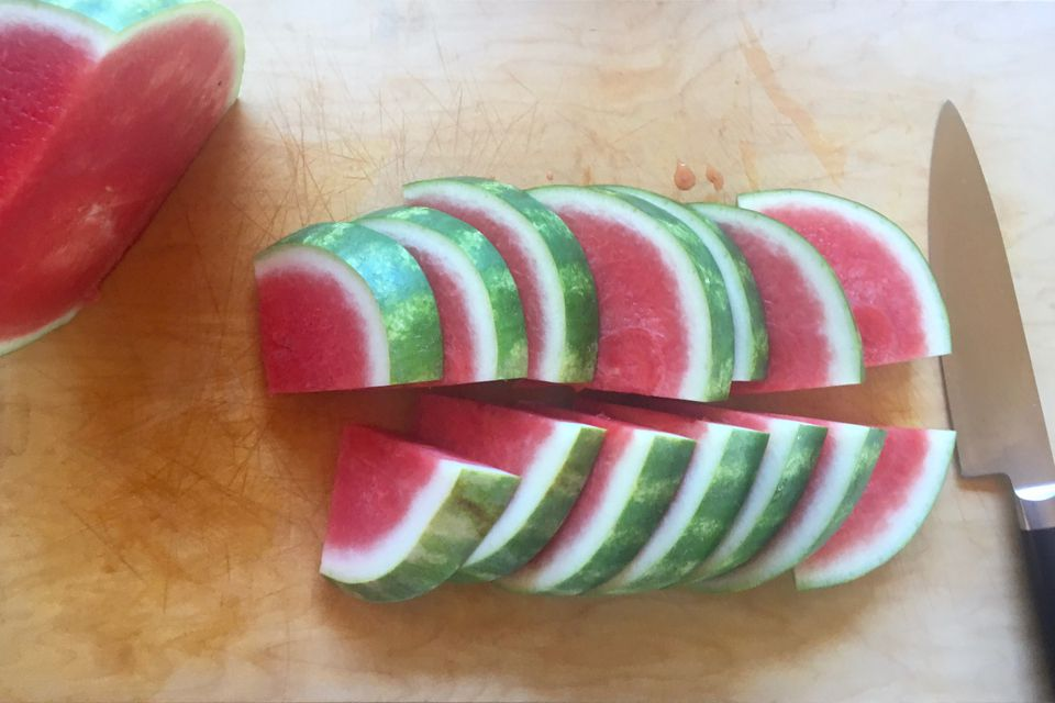 A watermelon sliced into quarters